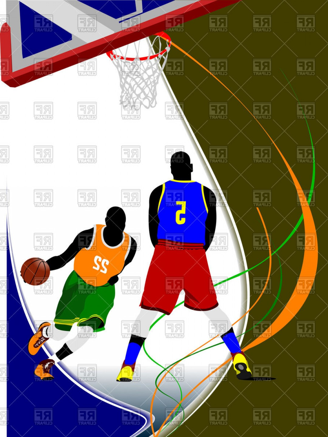 Motion Basketball Vector: Poster Basketball Players In Motion Near Hoop On Blue White And Green Background Vector Clipart