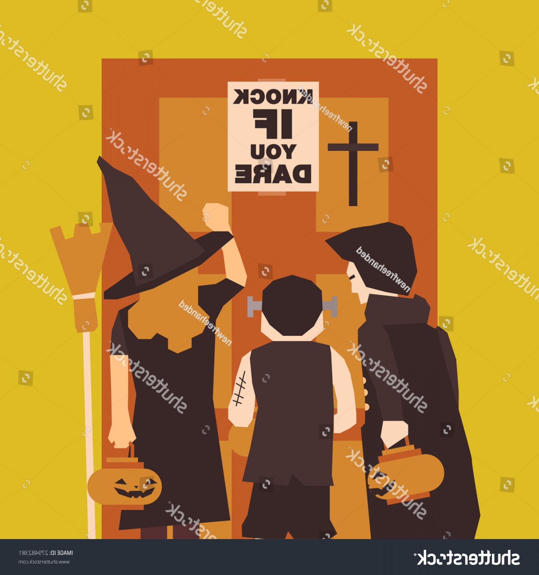Frankenstein Vector Poster: Poster Flat Banner Background Halloween Party