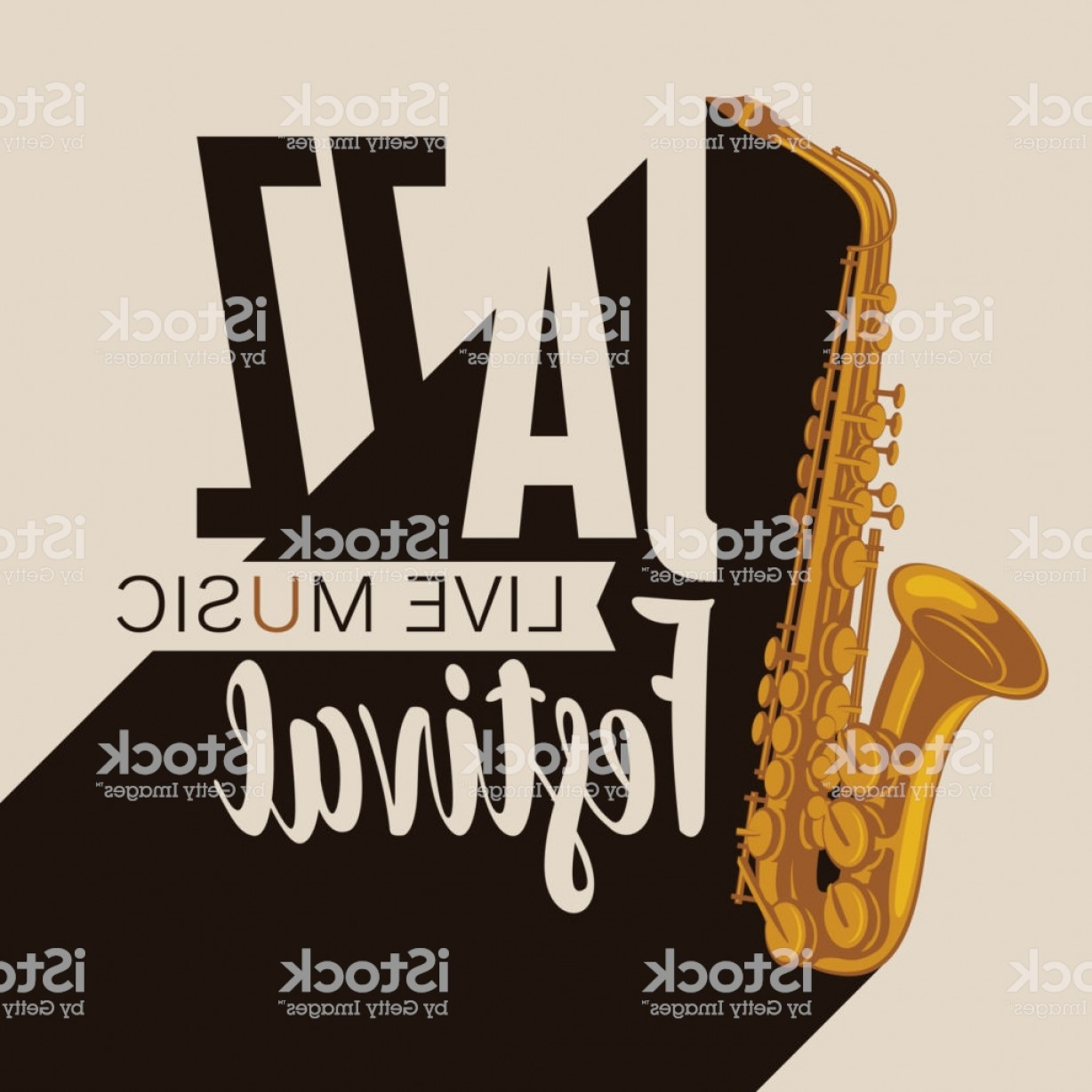 Saxophone Vector: Poster For A Jazz Music Festival With A Saxophone Gm