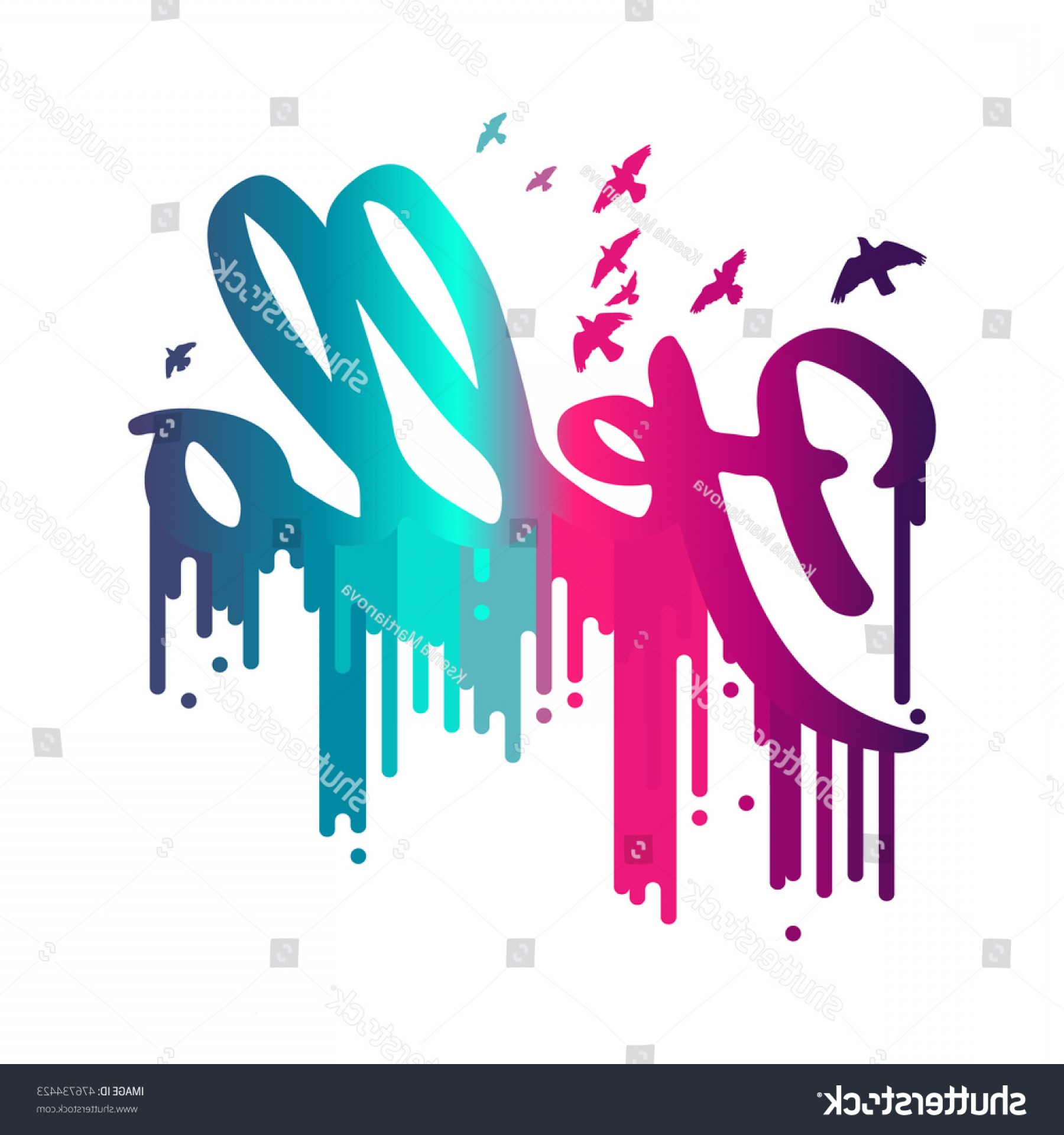 Dripping Paint Vector Illustration: Poster Hello Multicolor Dripping Paint Vector