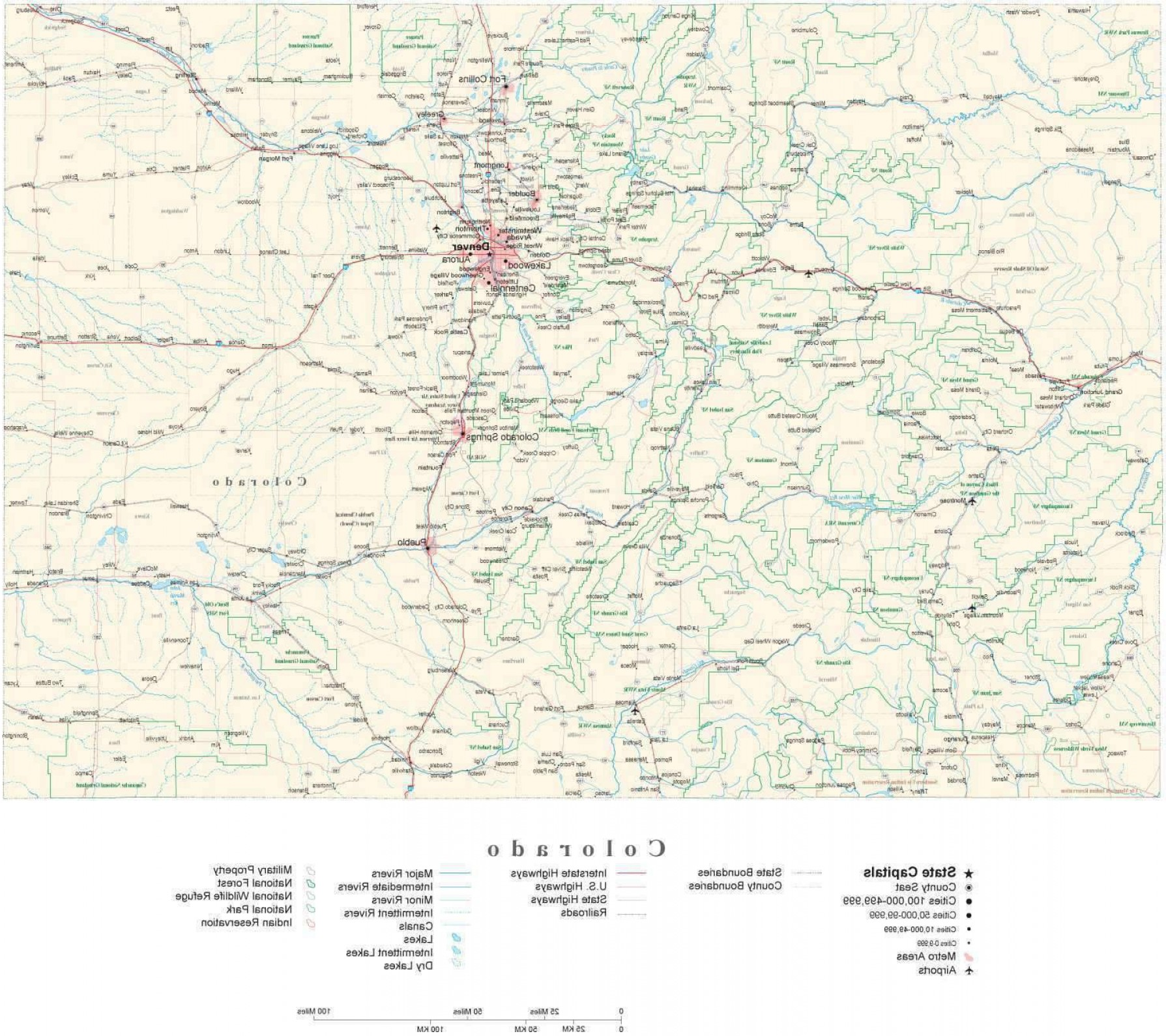 Colorado State Vector Maps: Poster Size Colorado Illustrator Vector State Map Co Usa