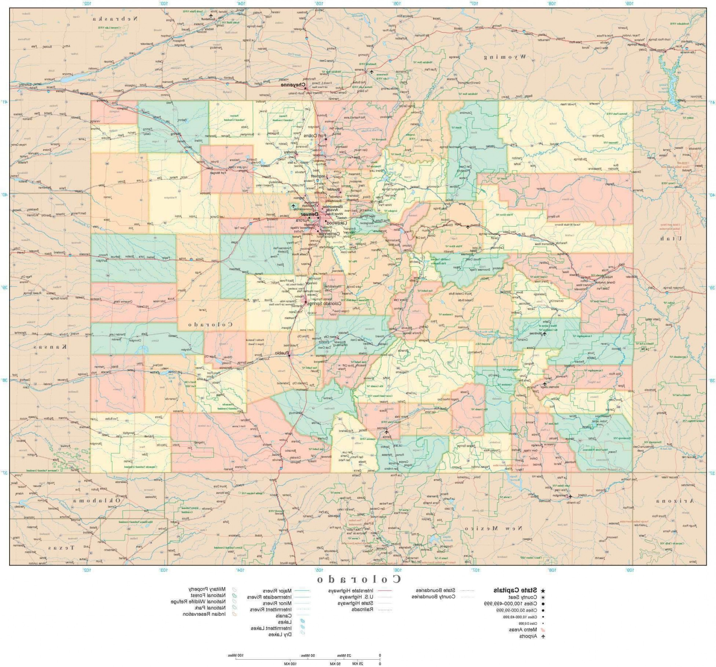 Colorado State Vector Maps: Poster Size High Detail Colorado Illustrator Vector State Map Co Usa