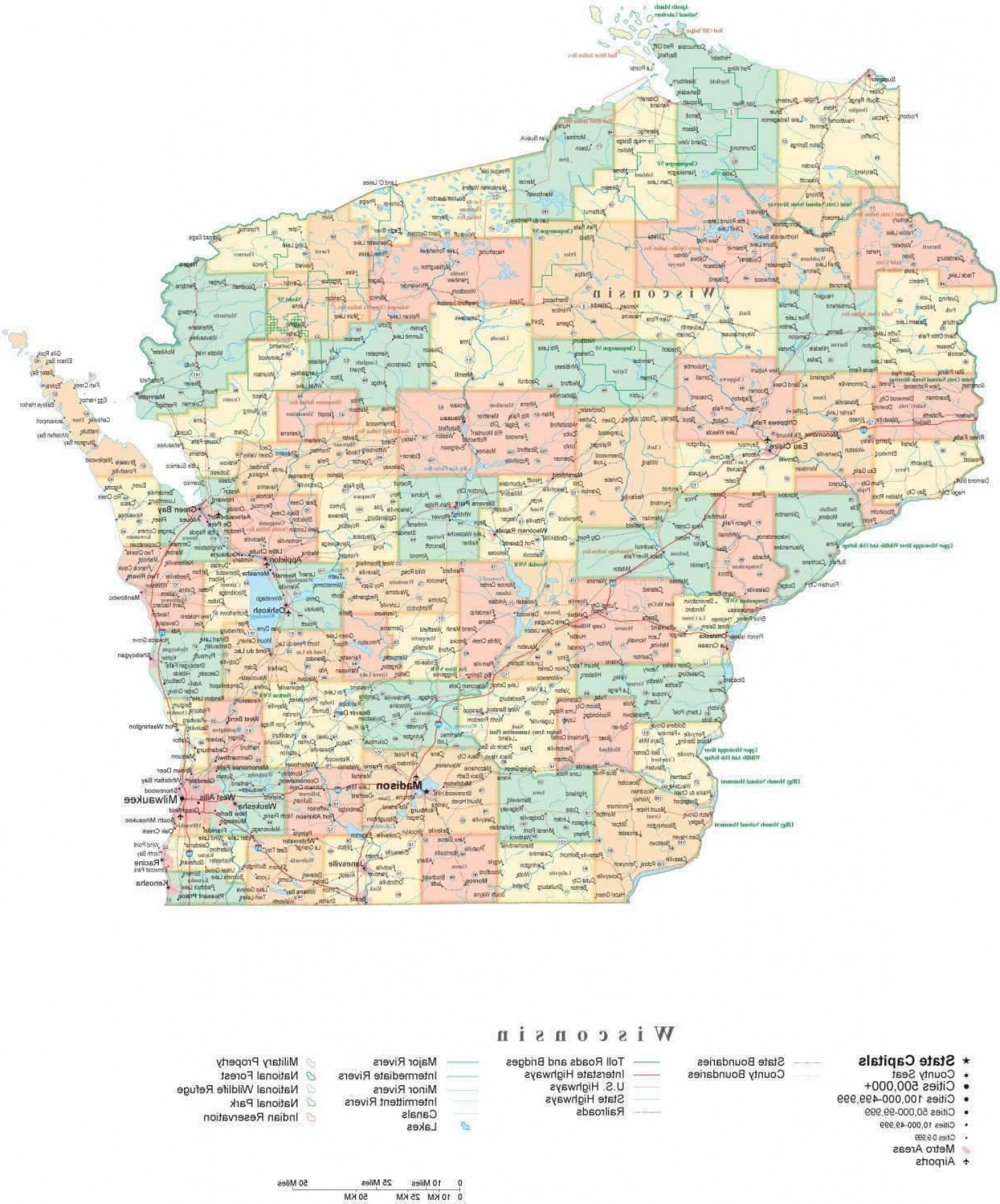 WI County Map Vector: Poster Size High Detail Wisconsin Illustrator Vector State Map Wi Usa
