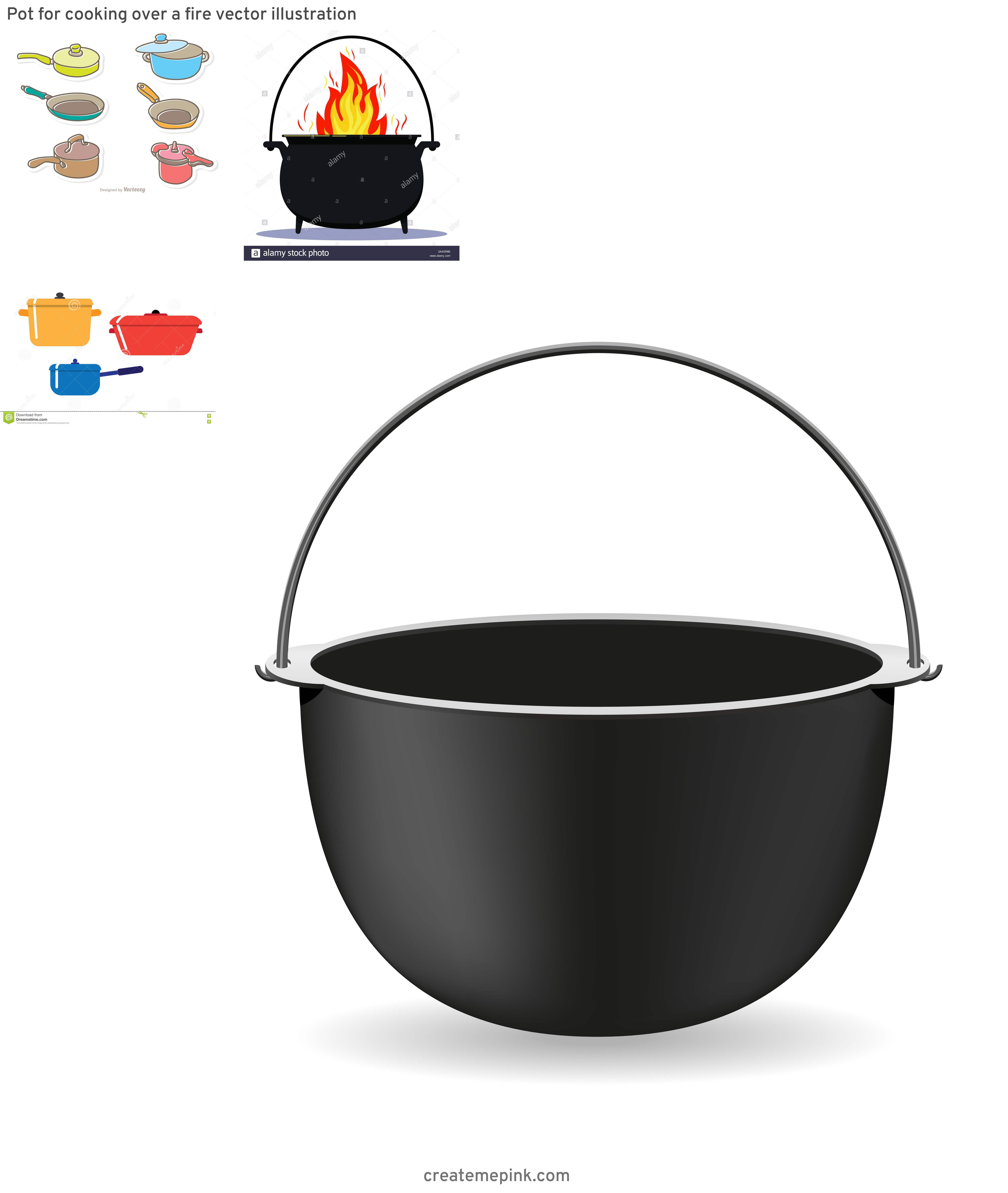Cook Pot Vector: Pot For Cooking Over A Fire Vector Illustration