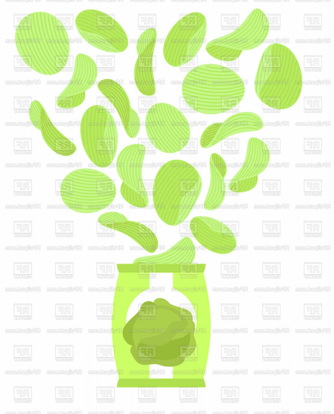 Snack Vector: Potato Chips With Taste Of Cabbage Bag Of Snack Vector Clipart