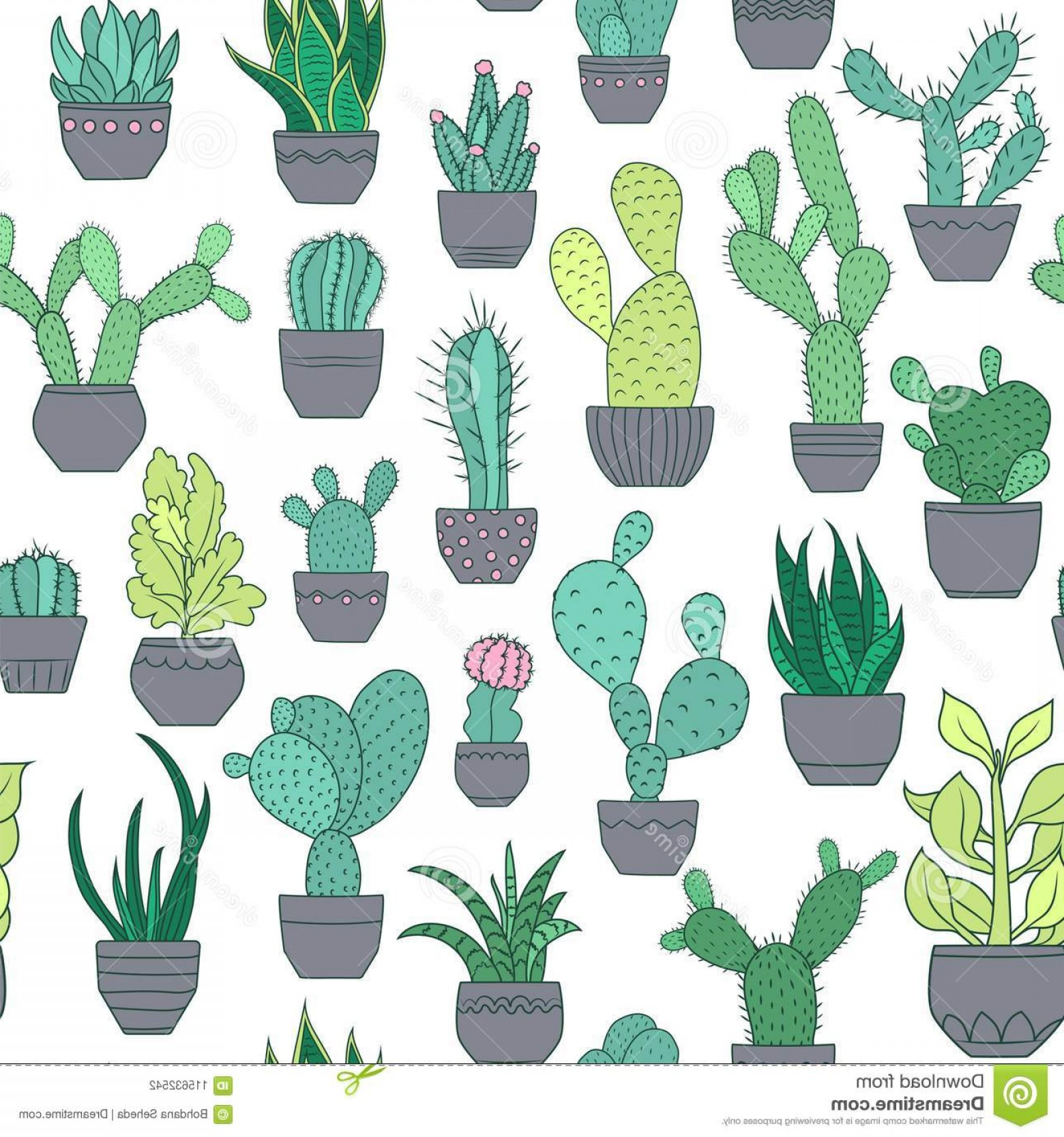 Potted Cactus Plant Vector: Potted Cactus Succulent Plants Seamless Pattern Exotic Flowers Species Houseplants Texture Colorful Drawing White Background Image