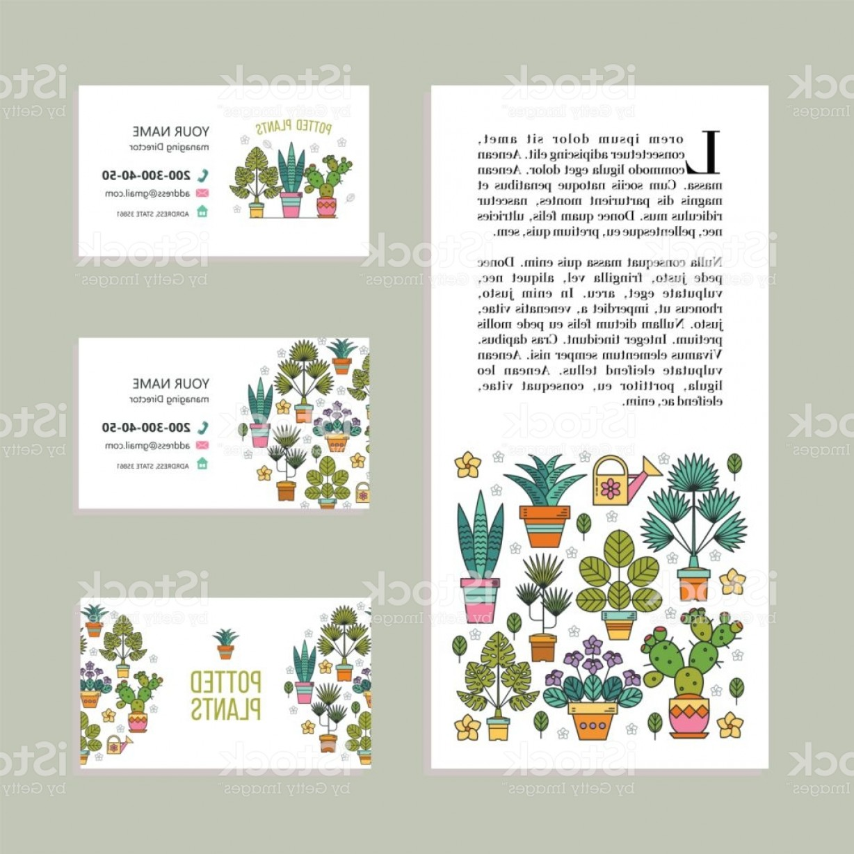 Plant Cards Vector: Potted Plants Vector Illustration Corporate Identity Business Cards Leaflet Flower Gm