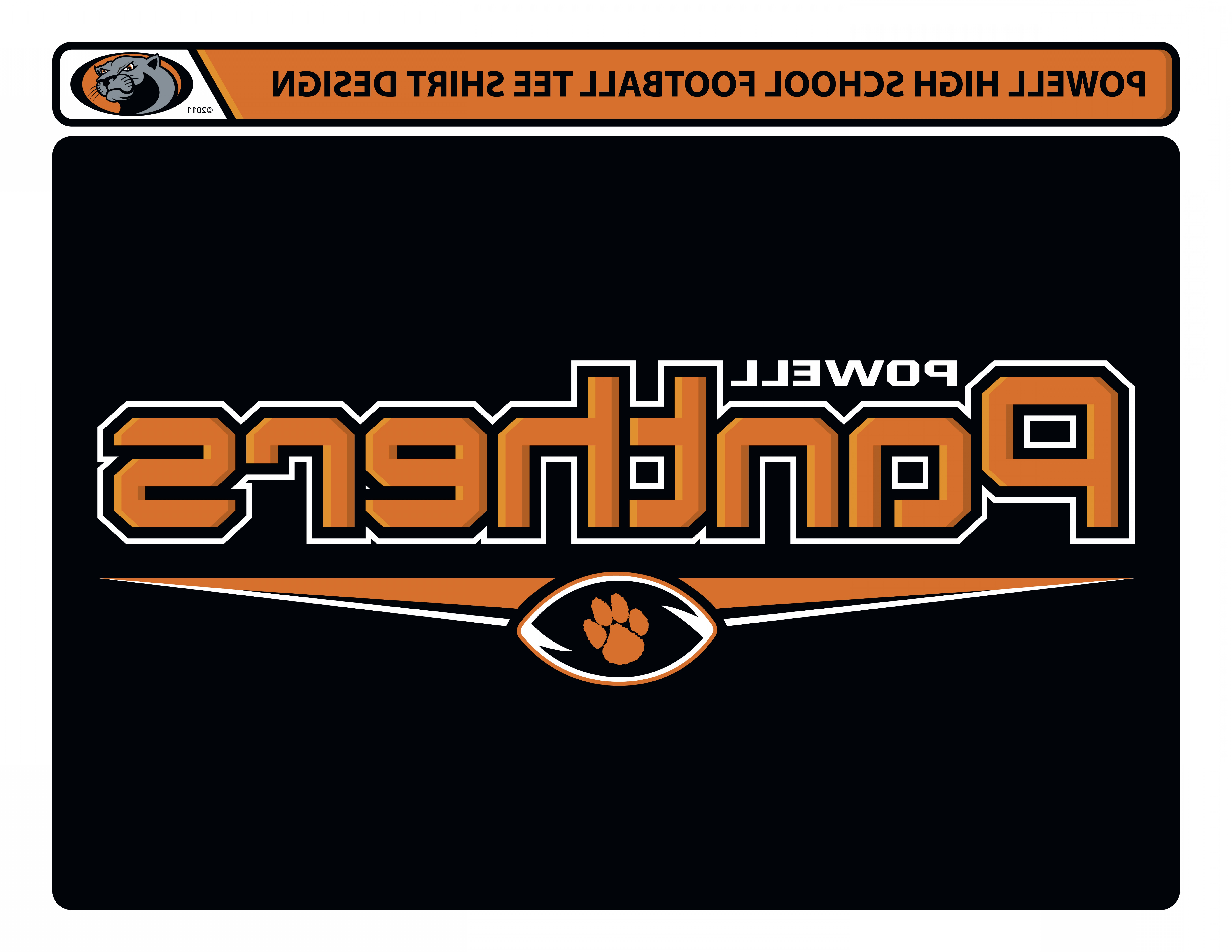 Vector Panther Football: Powell High School Football Tee Shirt Design