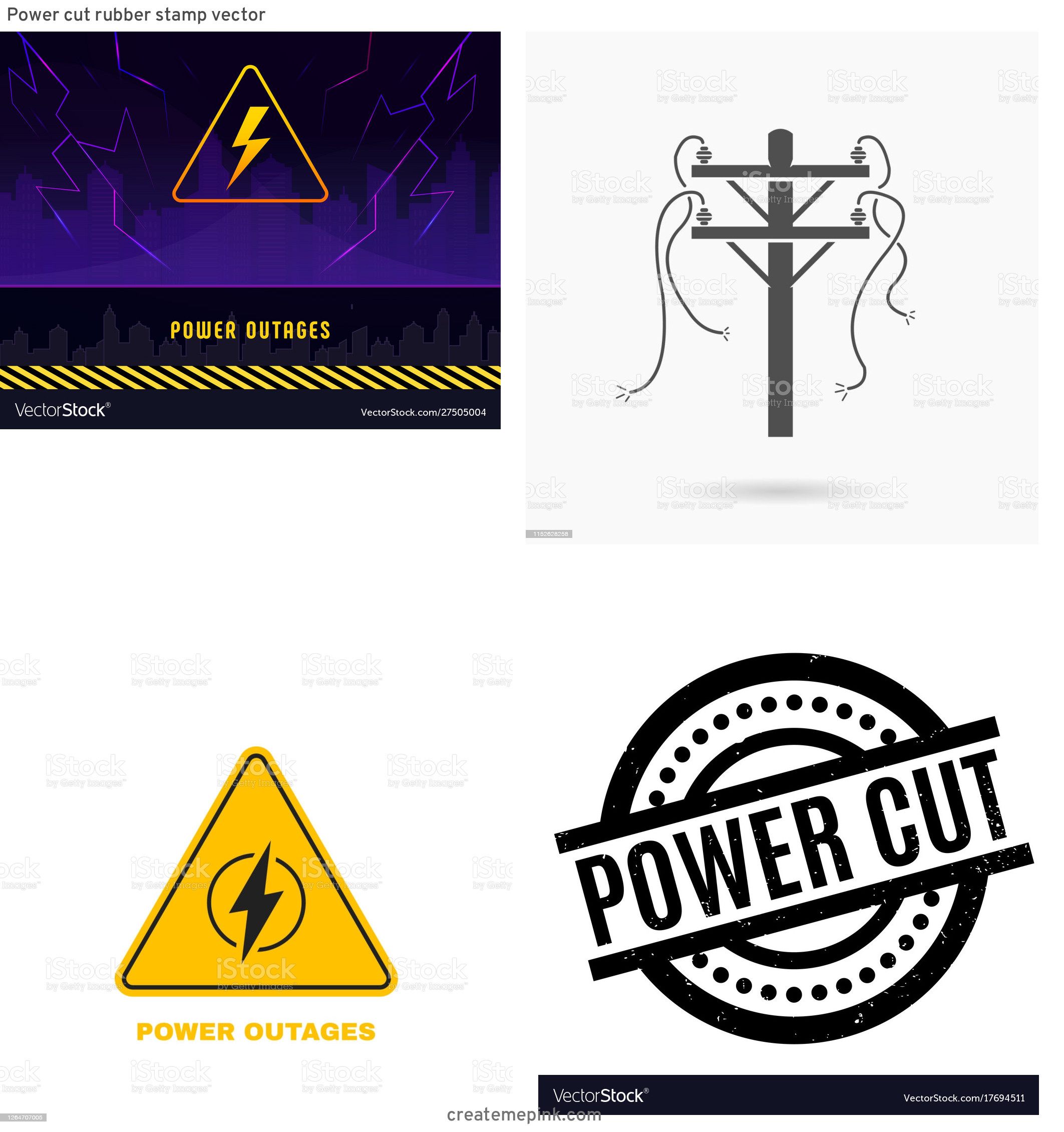 Vector Power Outage: Power Cut Rubber Stamp Vector