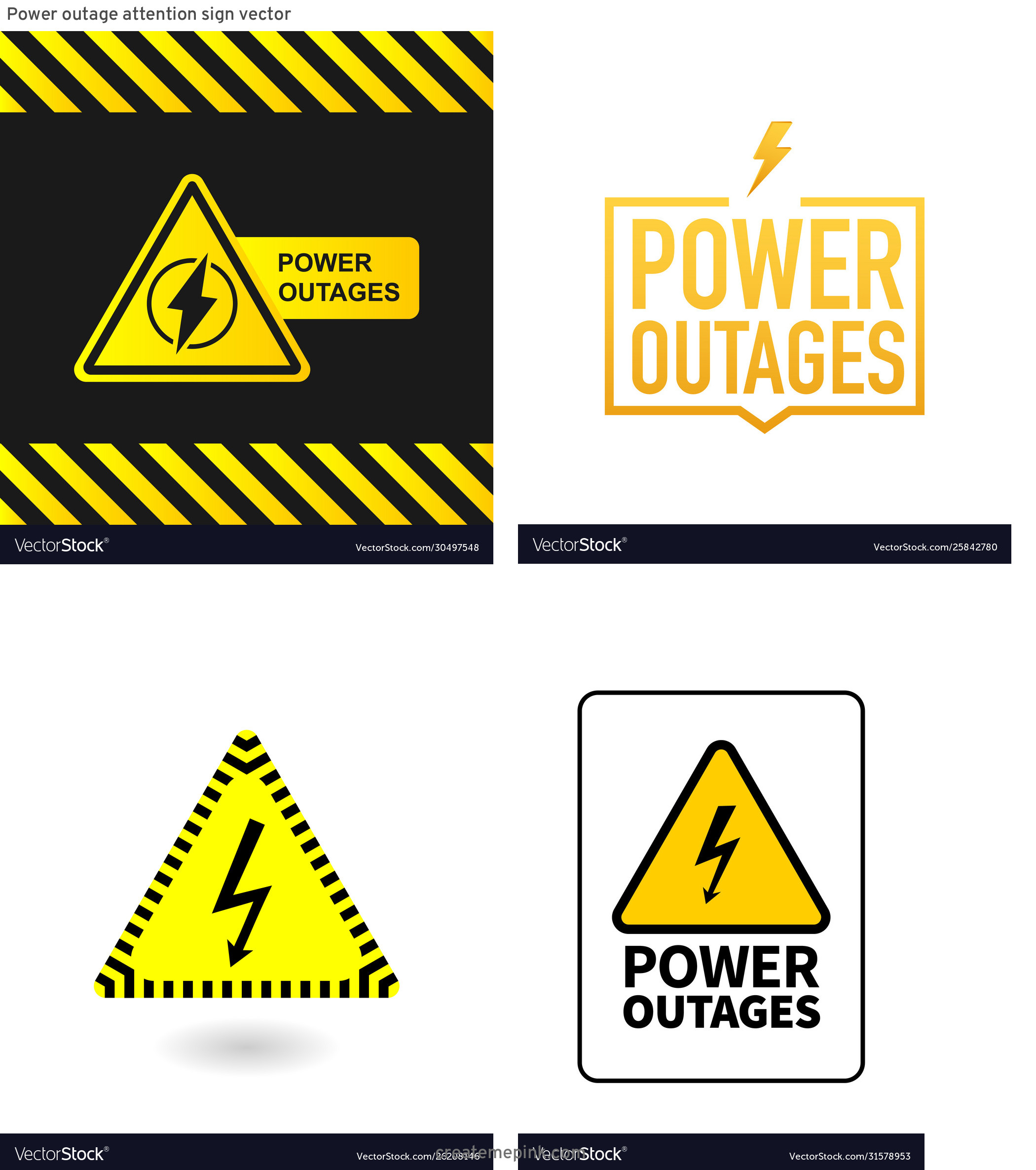 Vector Power Outage: Power Outage Attention Sign Vector