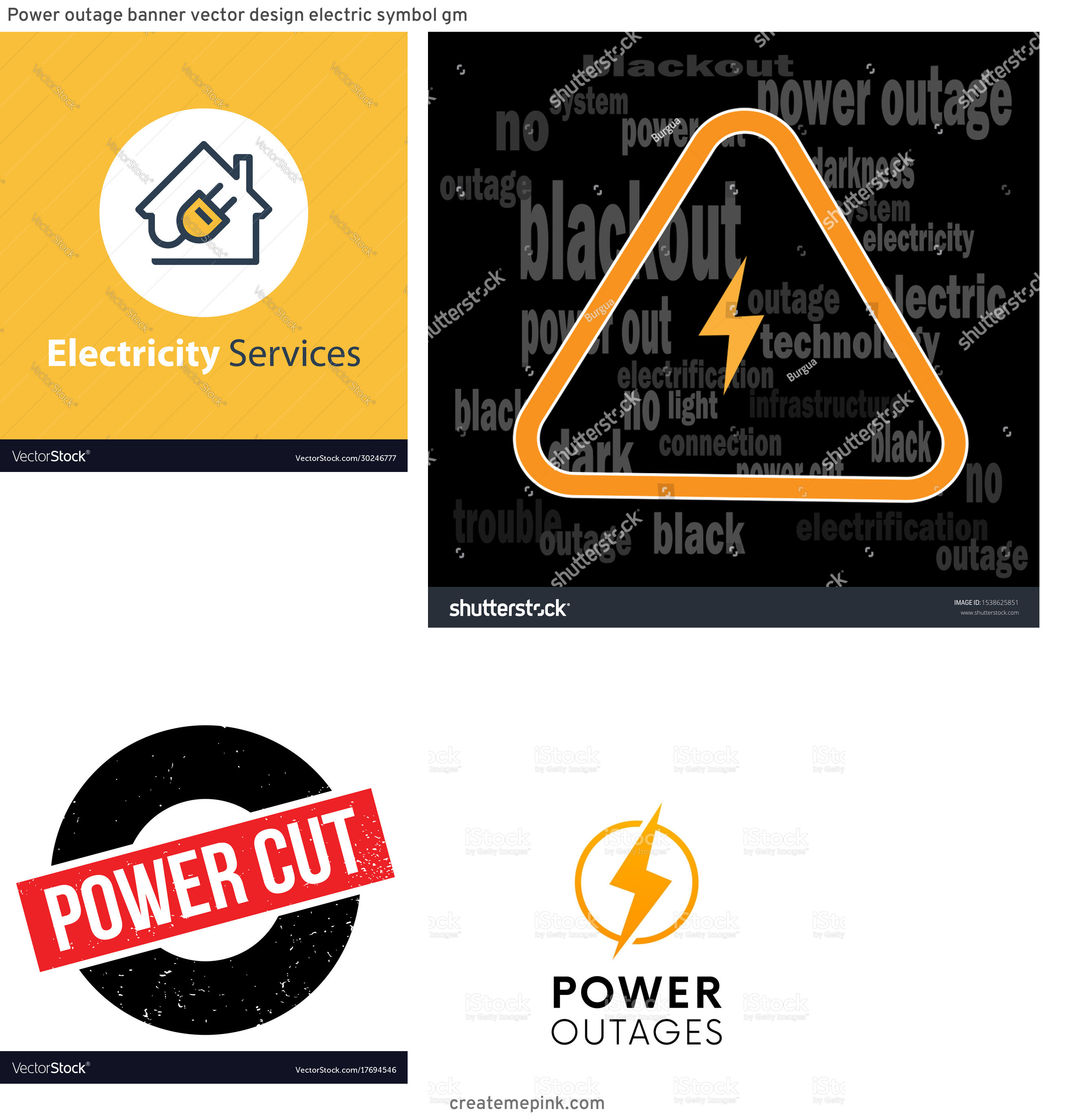 Vector Power Outage: Power Outage Banner Vector Design Electric Symbol Gm