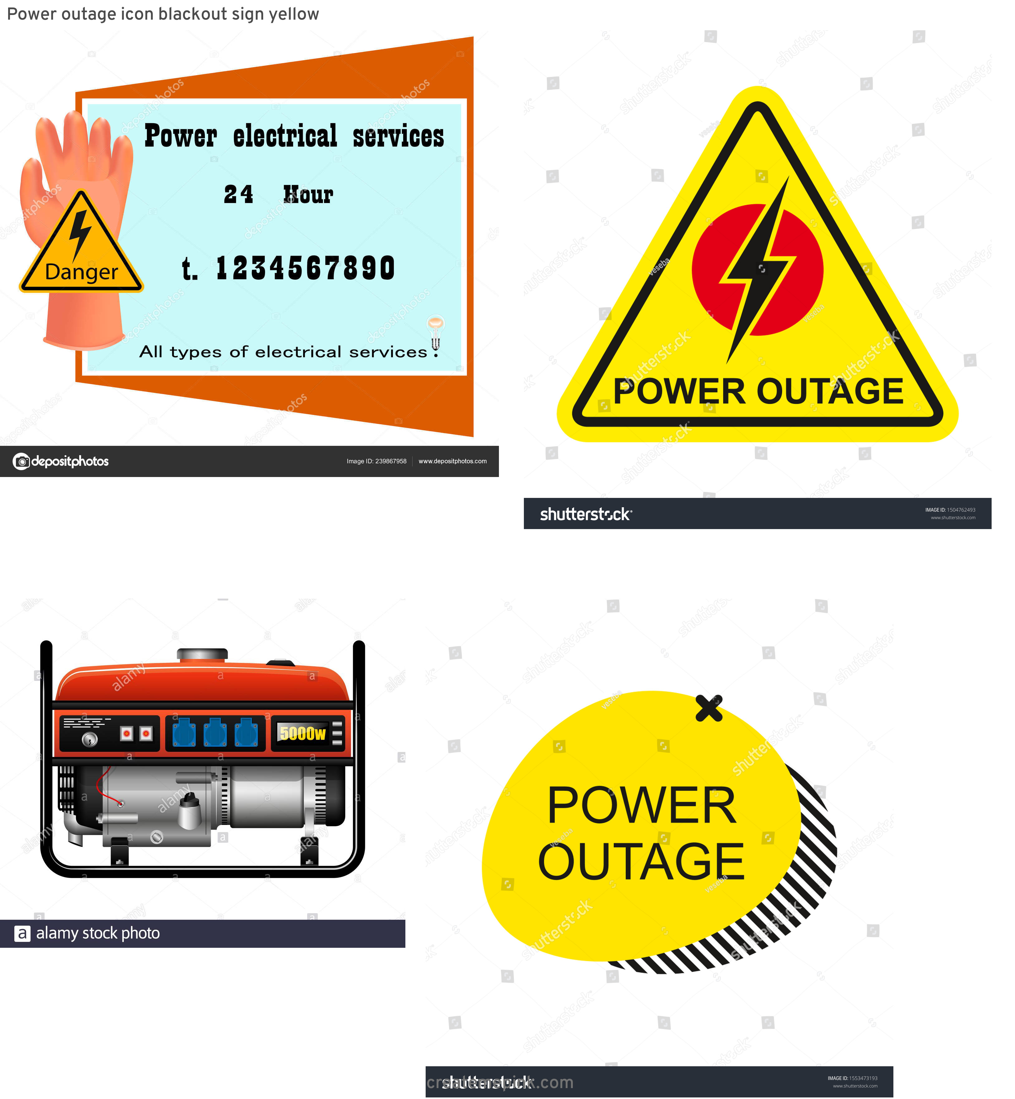 Vector Power Outage: Power Outage Icon Blackout Sign Yellow