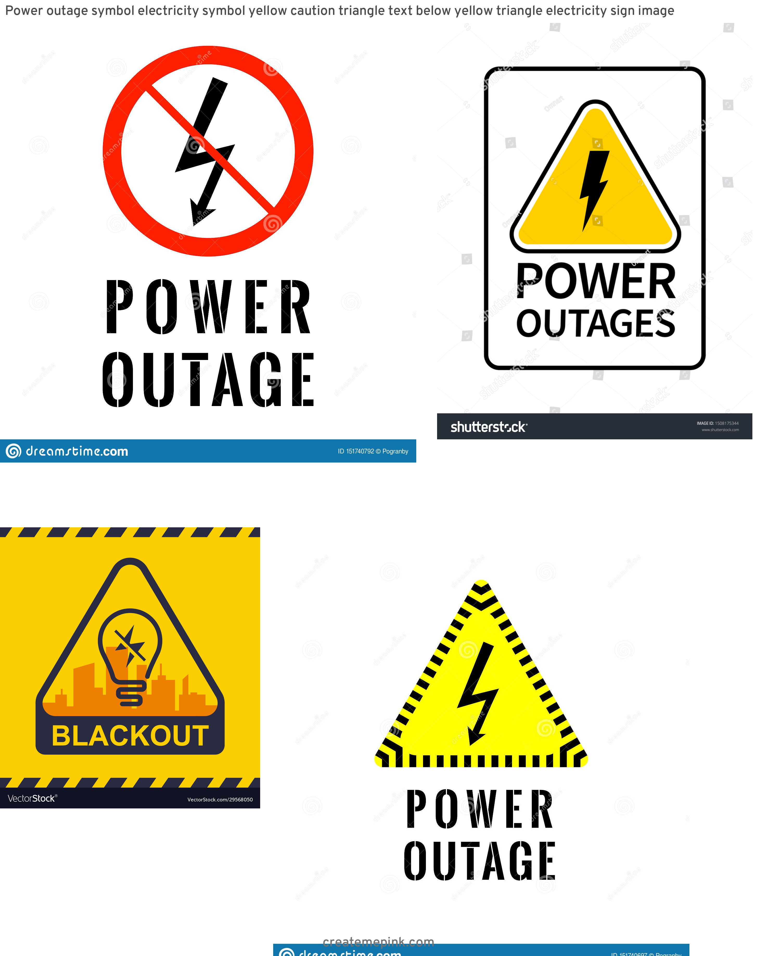Vector Power Outage: Power Outage Symbol Electricity Symbol Yellow Caution Triangle Text Below Yellow Triangle Electricity Sign Image