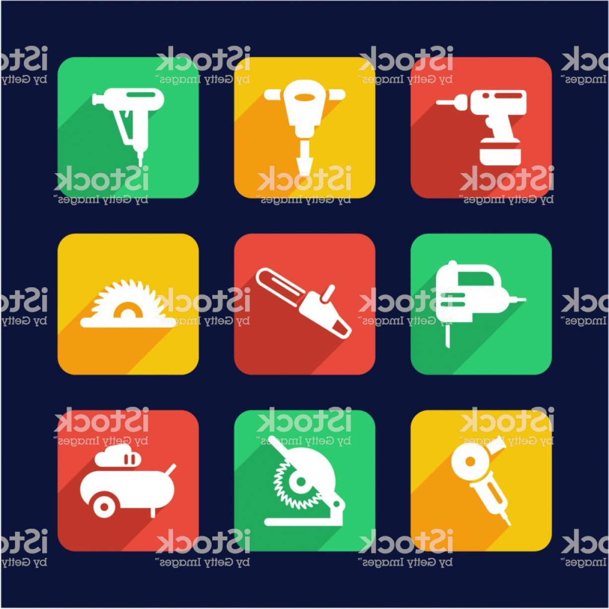 Vector Power On Board Compressor: Power Tools Icons Flat Design Gm