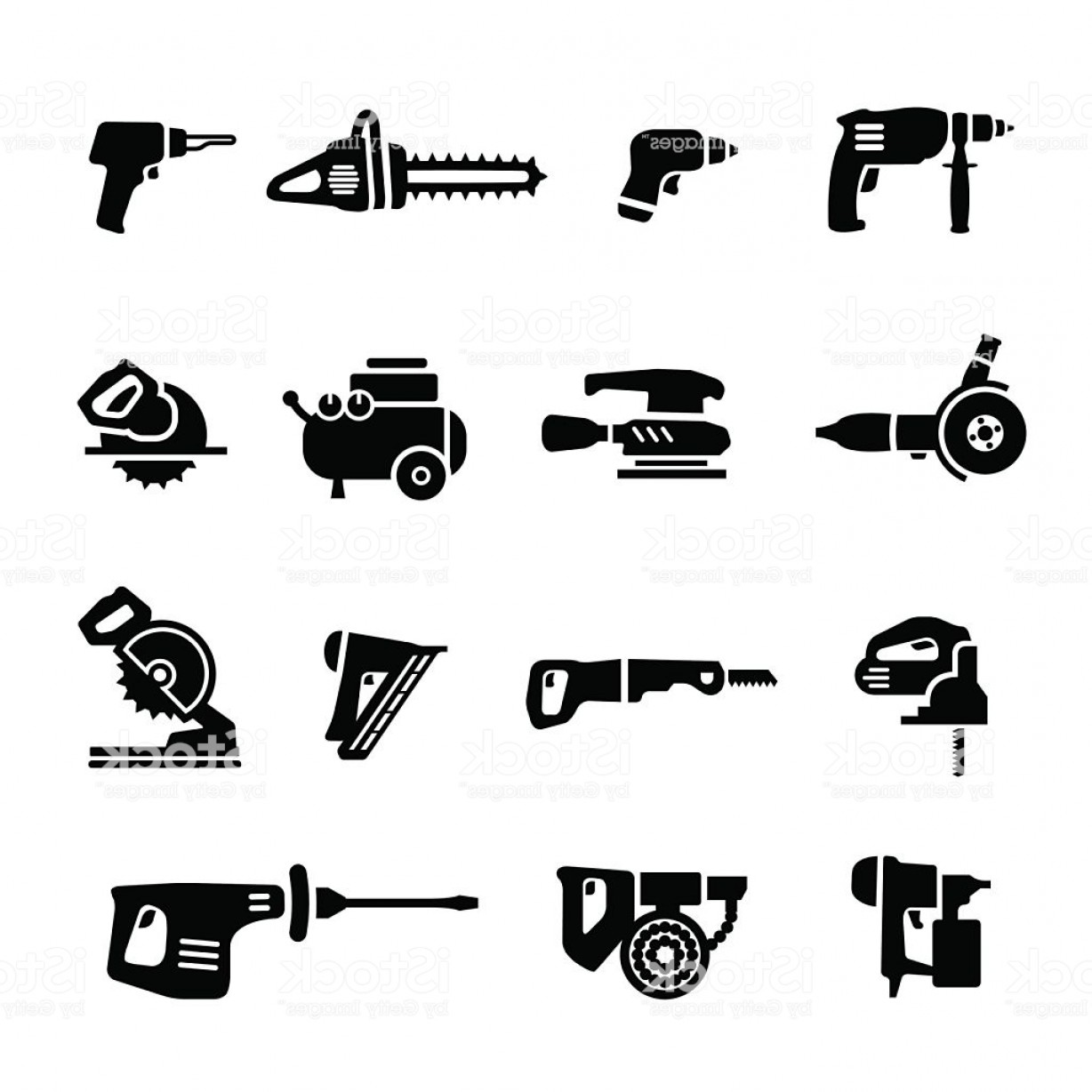 Vector Power On Board Compressor: Power Tools Vector Set Icons Gm