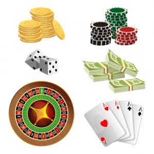 Editable Vector Poker Chips: Casino Chips Stack Playing Cards Linear
