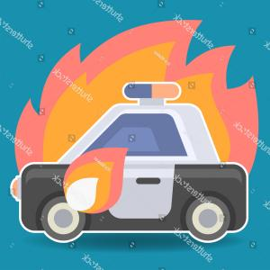 Car Flame Vectors EPS: Police Car Flame Flat Icon