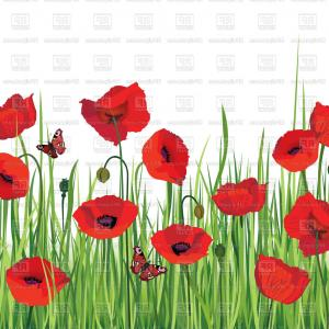Poppies Backgrounds Vector: Poppy Seamless Background Vector Clipart