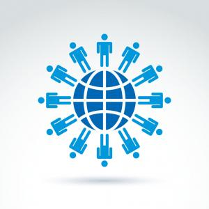 Expanding Population Icon Vector: Population Of The World Society Symbol Conceptual Vector