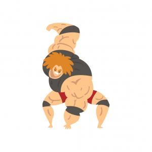 Vector Image Of Strong Wrestler: Adorable And Cute Strong Wrestler Cat Cartoon Character Gm
