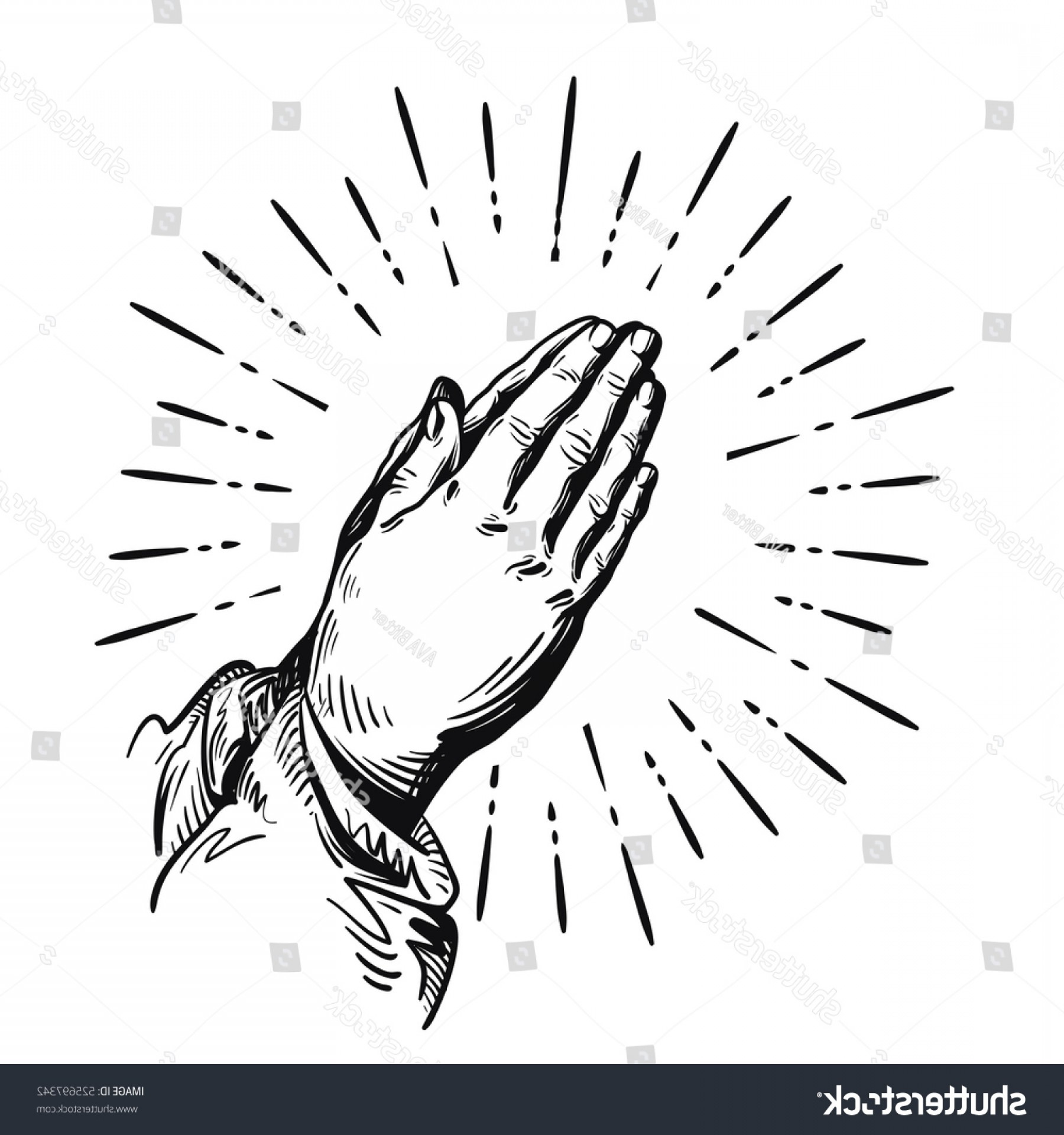 Praying Hands Vectors Shutterstock: Prayer Sketch Praying Hands Vector Illustration