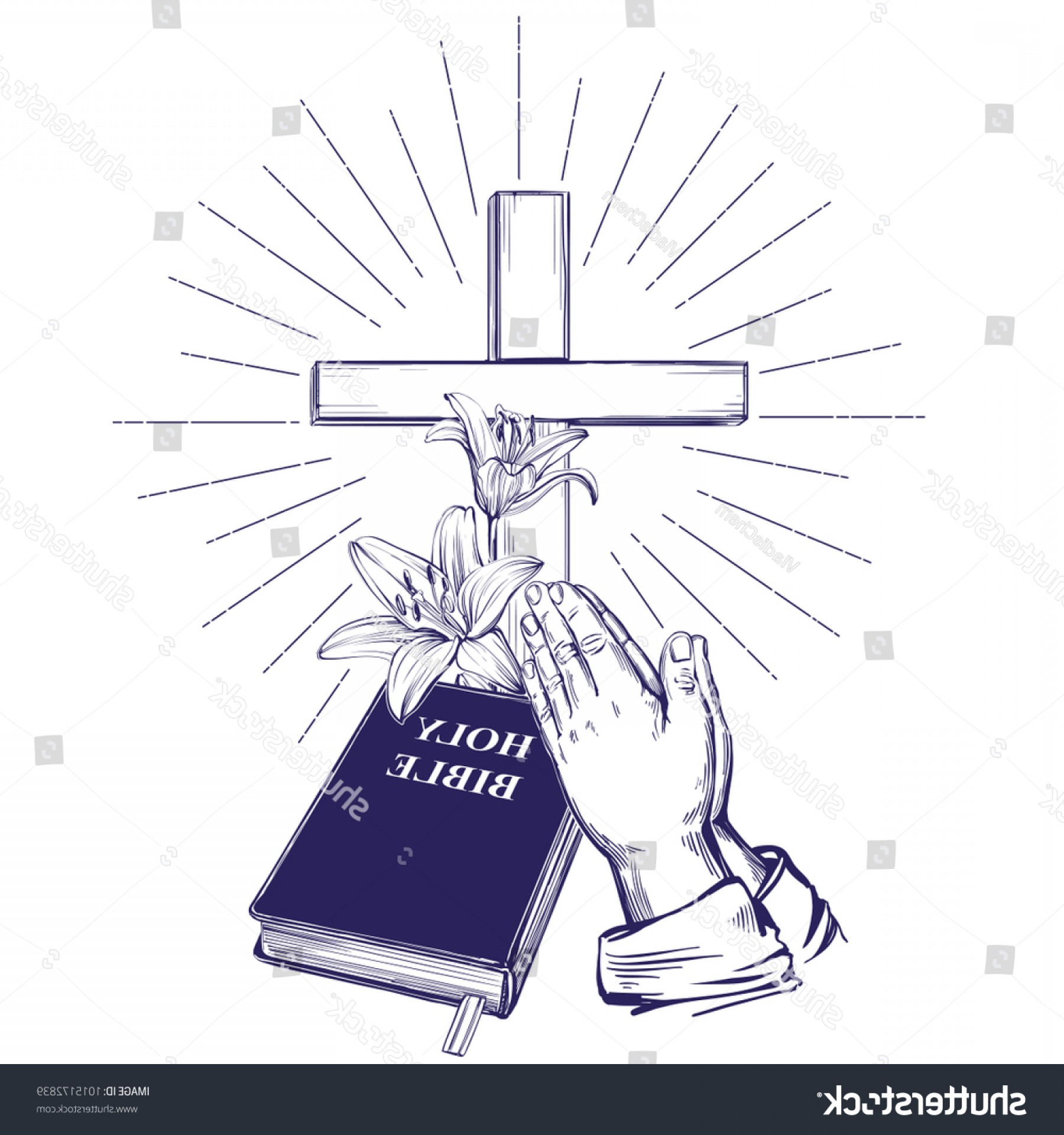 Praying Hands Vectors Shutterstock: Praying Hands Bible Gospel Crown Thorns