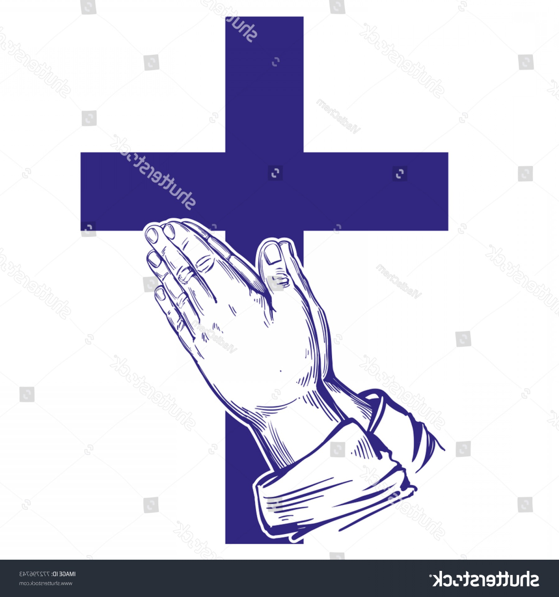 Praying Hands Vectors Shutterstock: Praying Hands Cross Symbol Christianity Hand