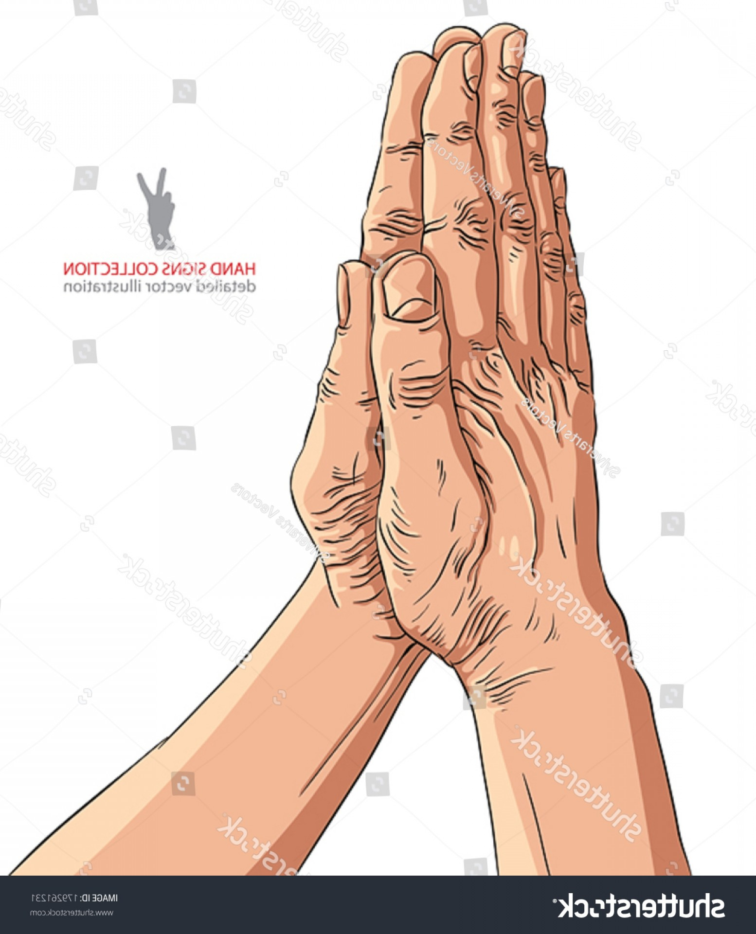 Praying Hands Vectors Shutterstock: Praying Hands Detailed Vector Illustration