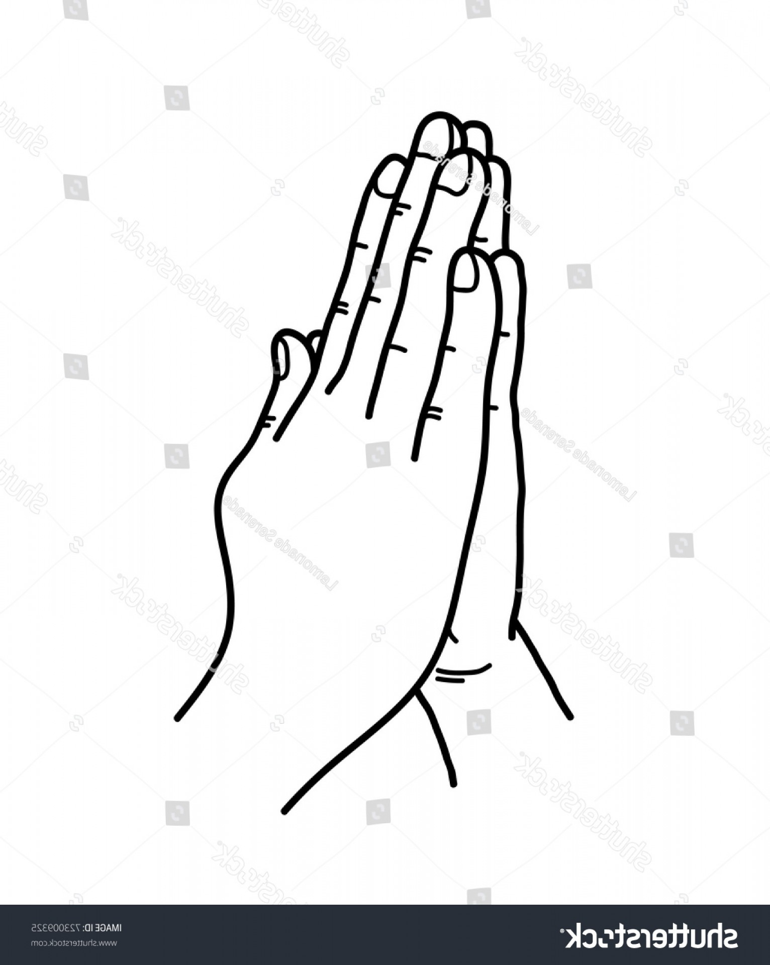 Praying Hands Vectors Shutterstock: Praying Hands Doodle Hand Drawn Vector