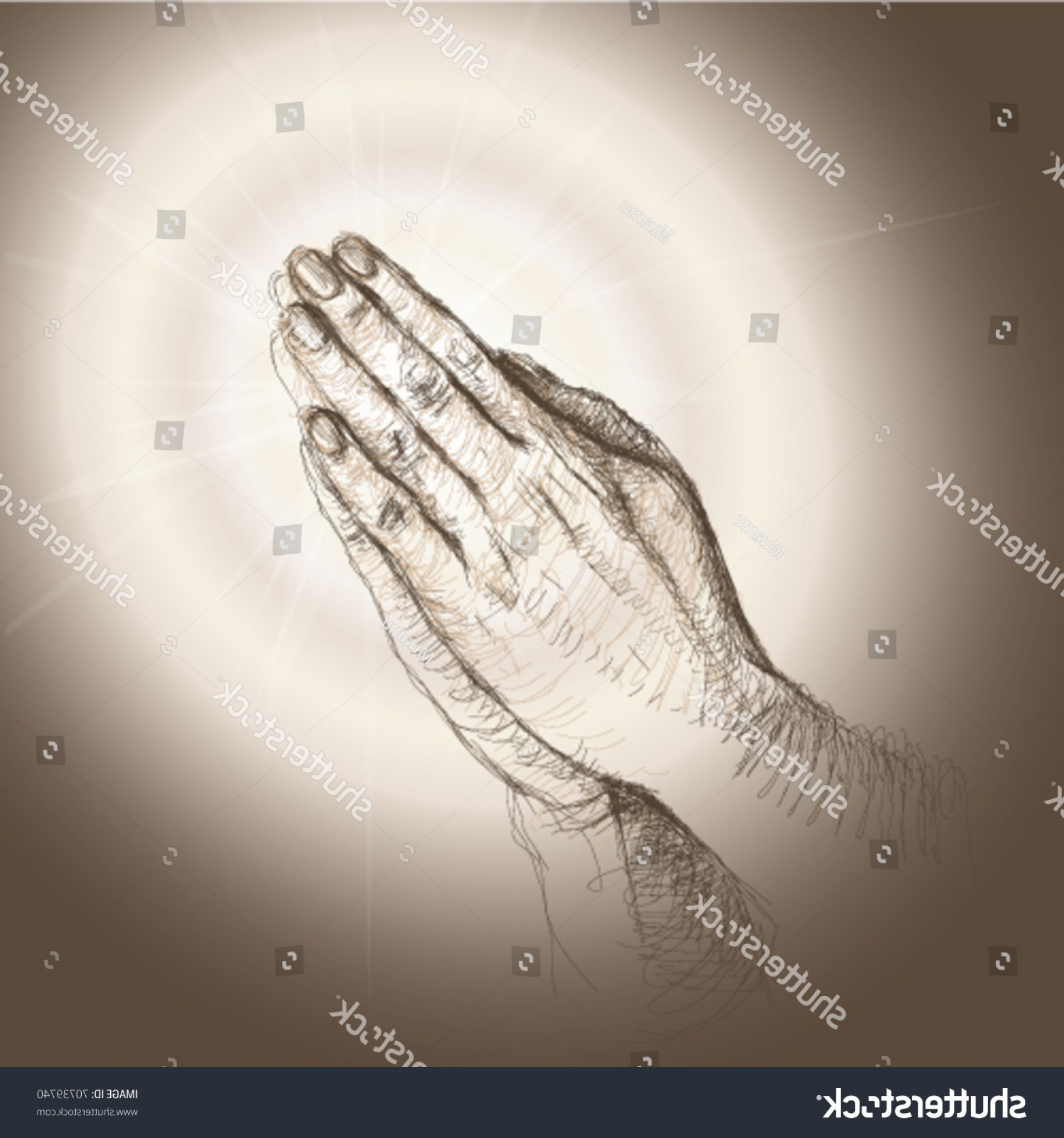 Praying Hands Vectors Shutterstock: Praying Hands Realistic Sketch Not Autotraced