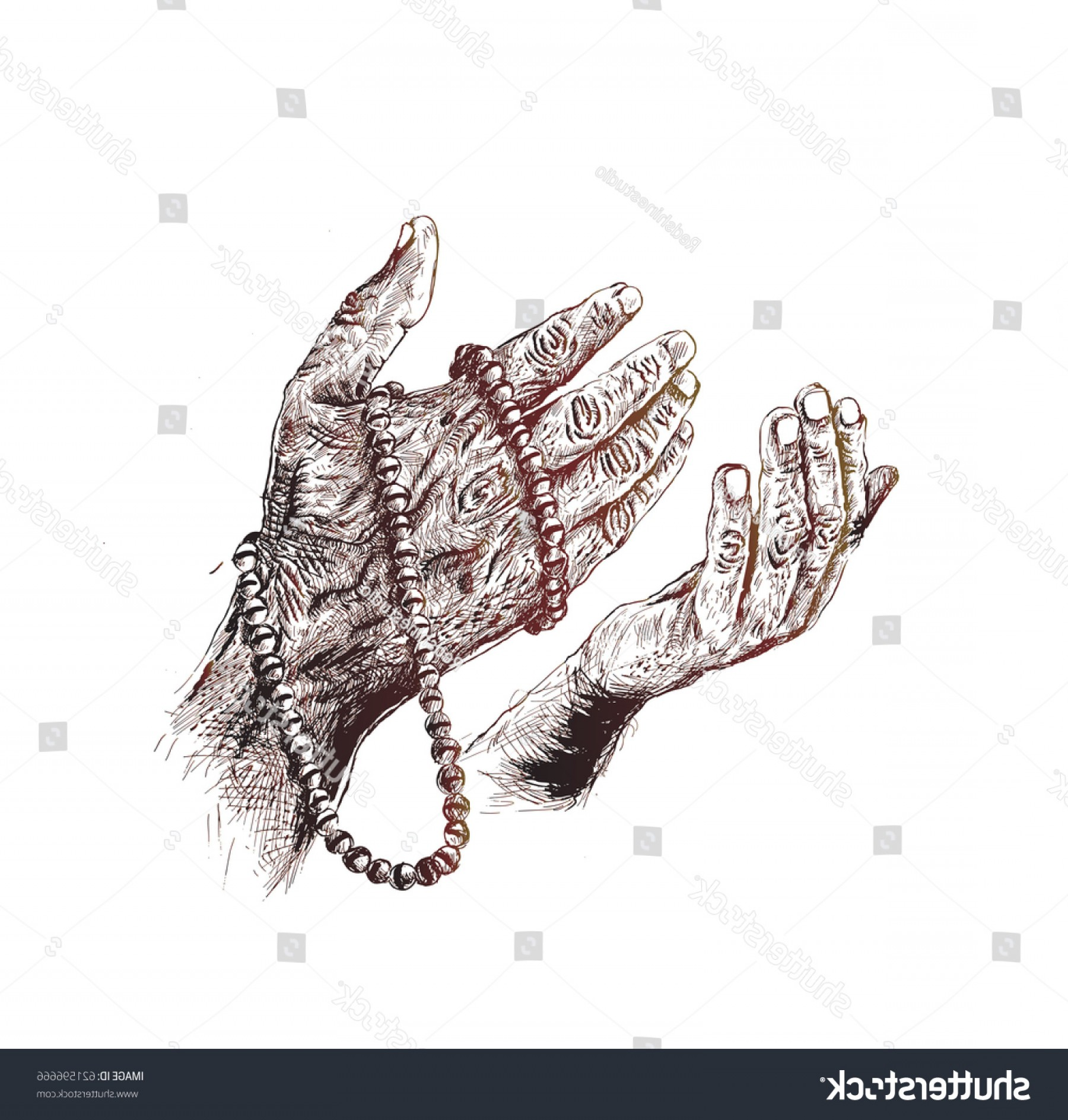 Praying Hands Vectors Shutterstock: Praying Hands Rosary Hand Drawn Sketch