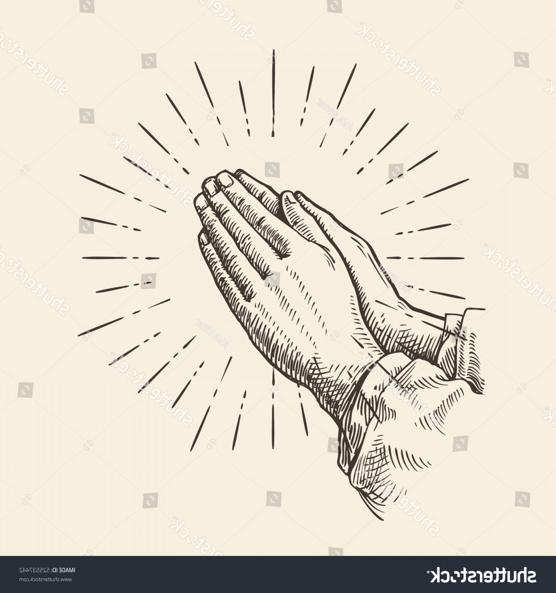 Praying Hands Vectors Shutterstock: Praying Hands Sketch Vector Illustration