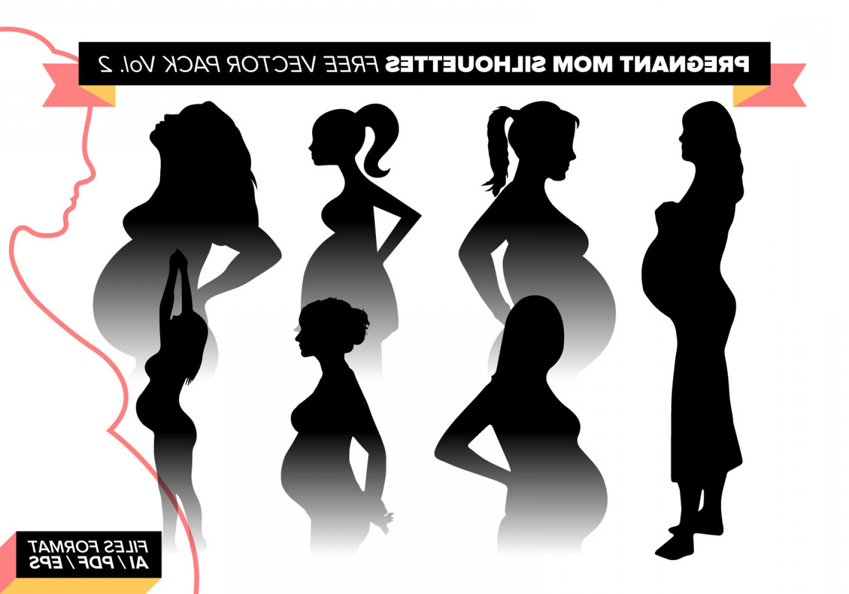 Pregnant Vector Art: Pregnant Mom Silhouettes Free Vector Pack Vol