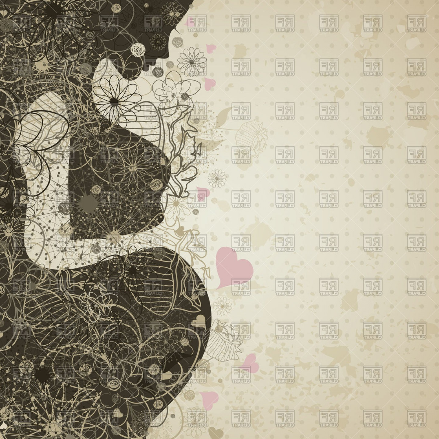 Pregnant Vector Art: Pregnant Woman In Flowers Vector Clipart