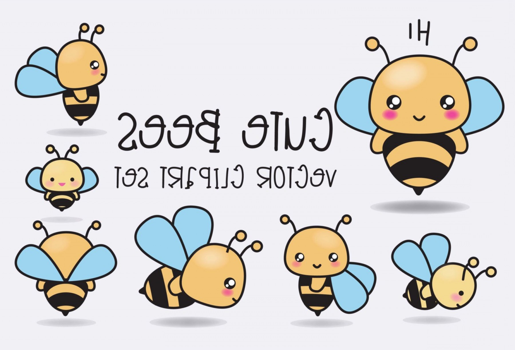 Kawaii Bug Vector: Premium Vector Clipart Kawaii Bees Cute