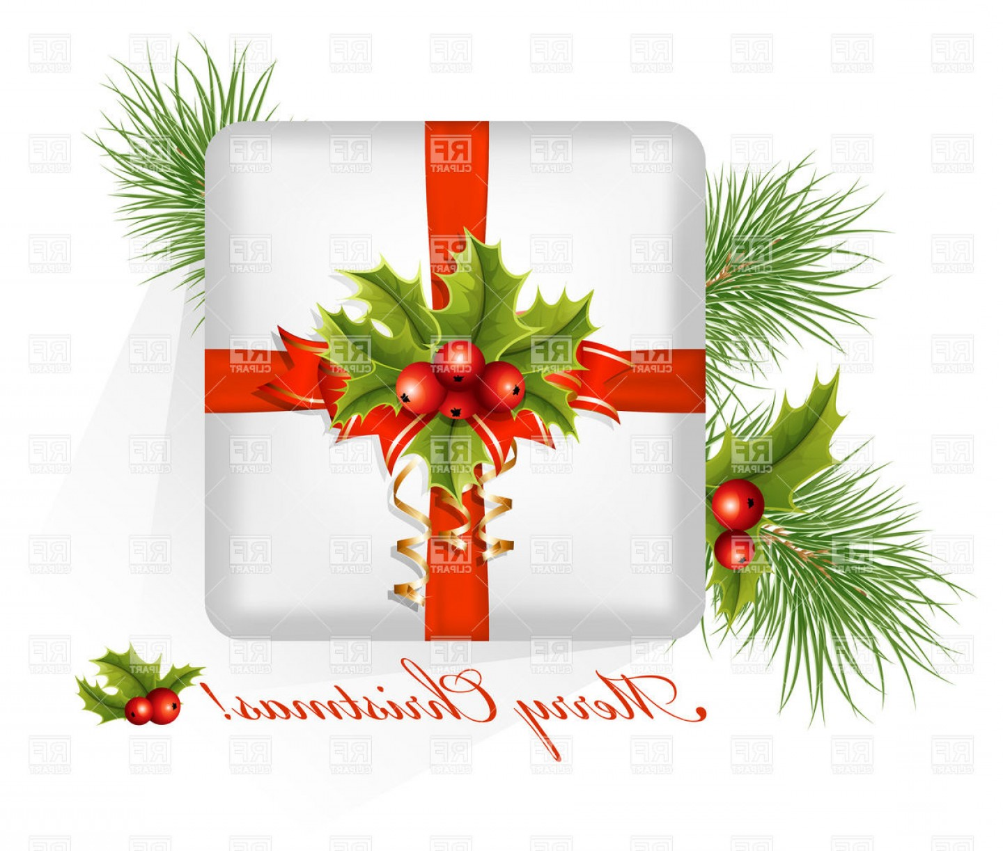 Vector Art Free Christmas Gift: Present Box With Christmas Holly Vector Clipart
