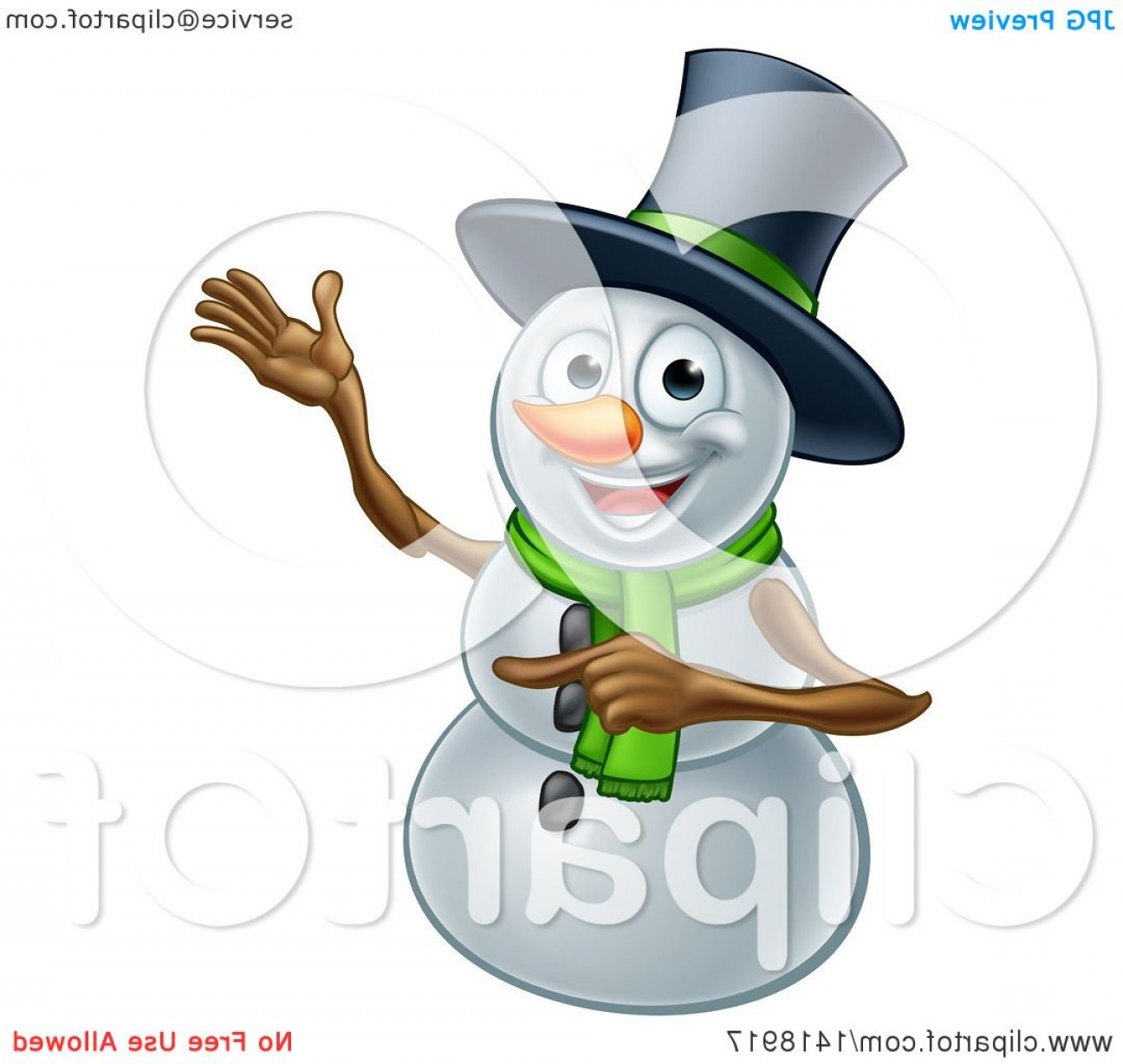 No Hat With Snowman Vector: Presenting Christmas Snowman Wearing A Green Scarf And A Top Hat