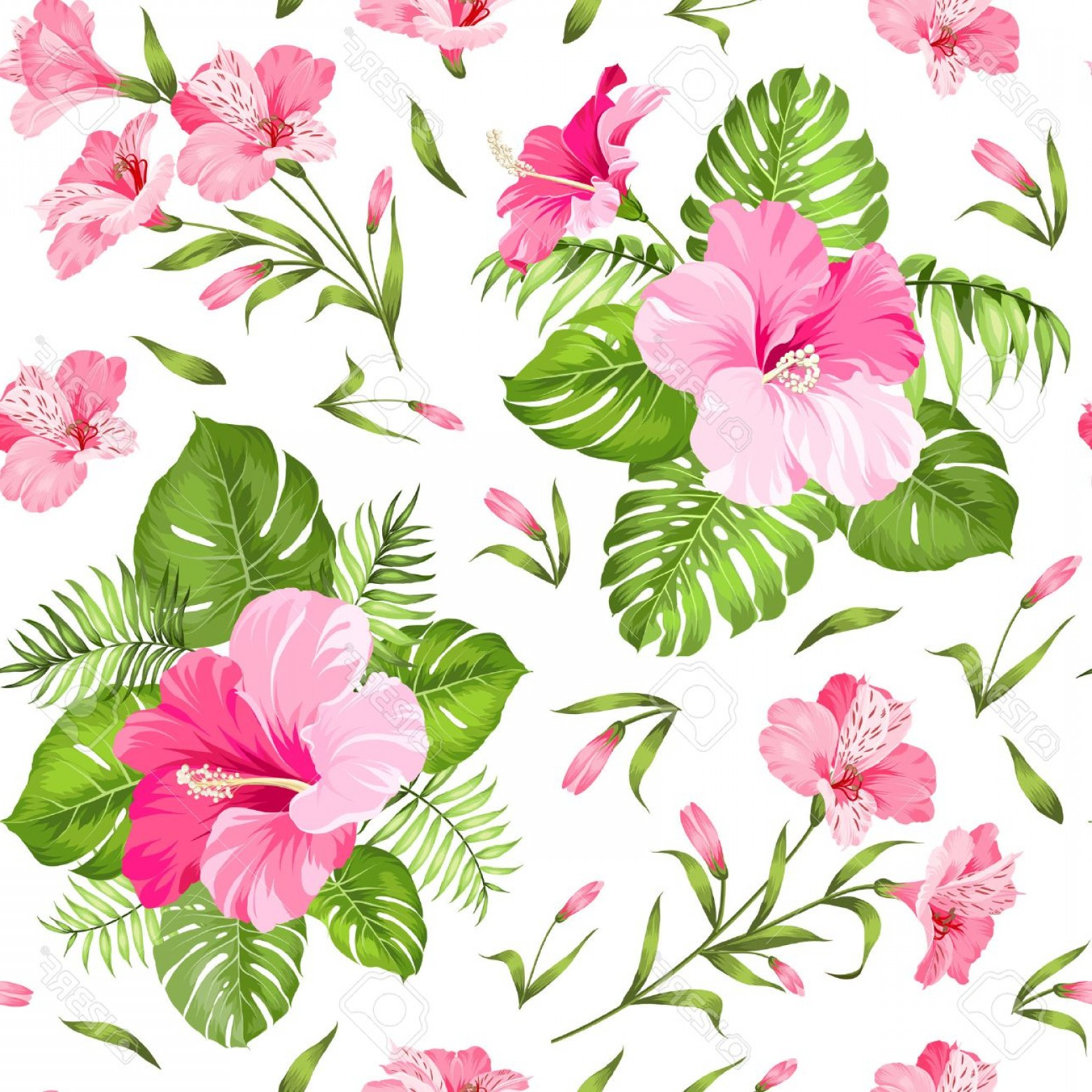 Hawaiian Flower Seamless Vector Pattern: Pretty Photostock Vector Seamless Tropical Flower Blossom Flowers Seamless Pattern Background Vector Illustration