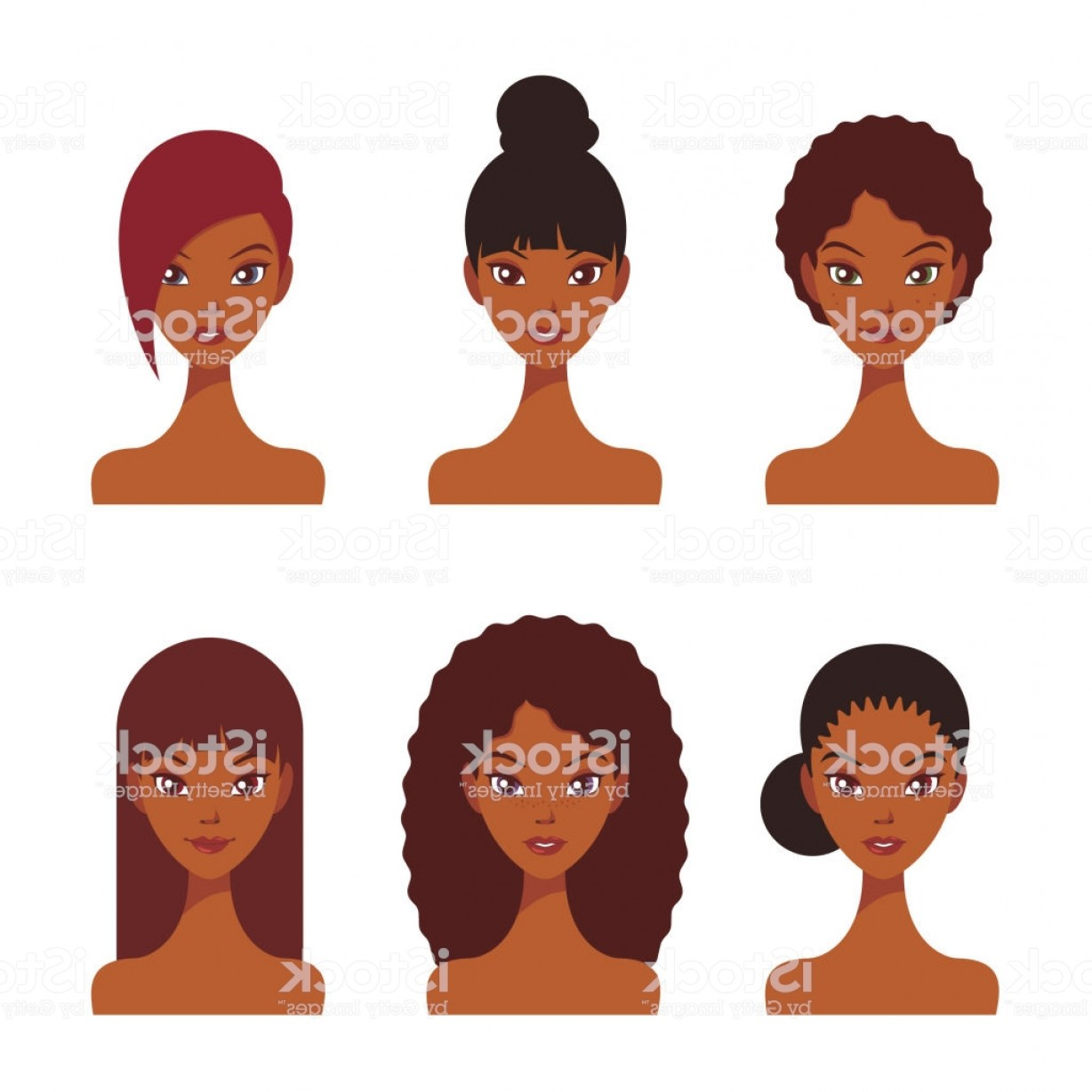 Black Beauty Vector Face: Pretty Young Black Women Faces With Various Hairstyles Beauty Vector Illustration Set Gm