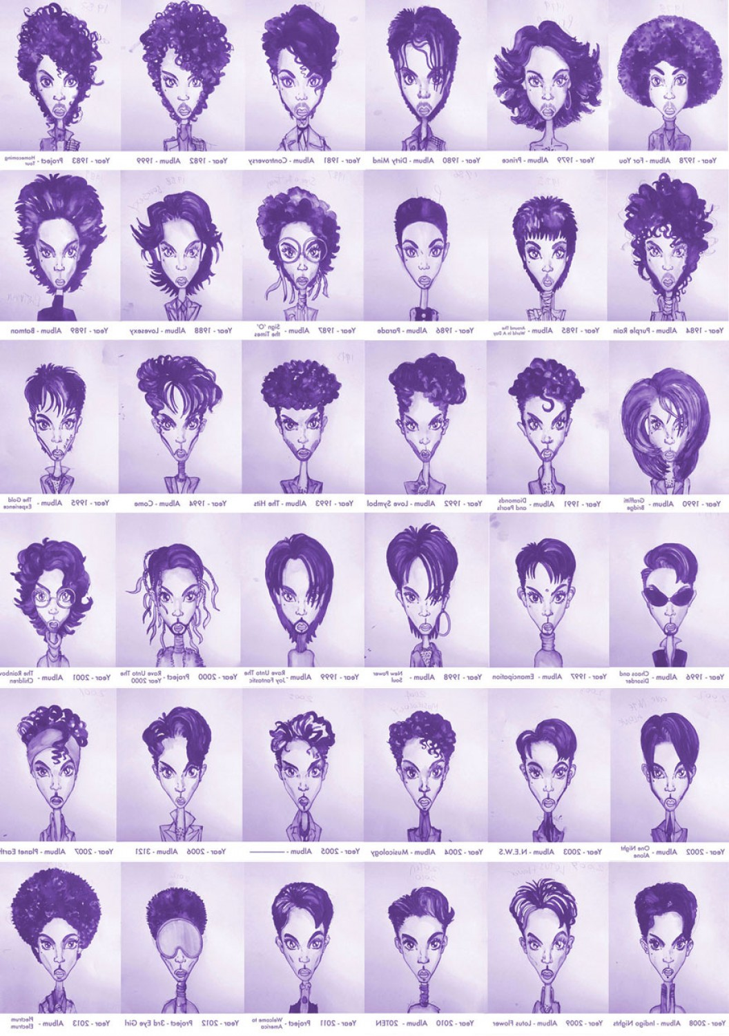Singer Prince Symbol Vector: Prince Hair Styles Chronology Chart Rogers Nelson Gary Card