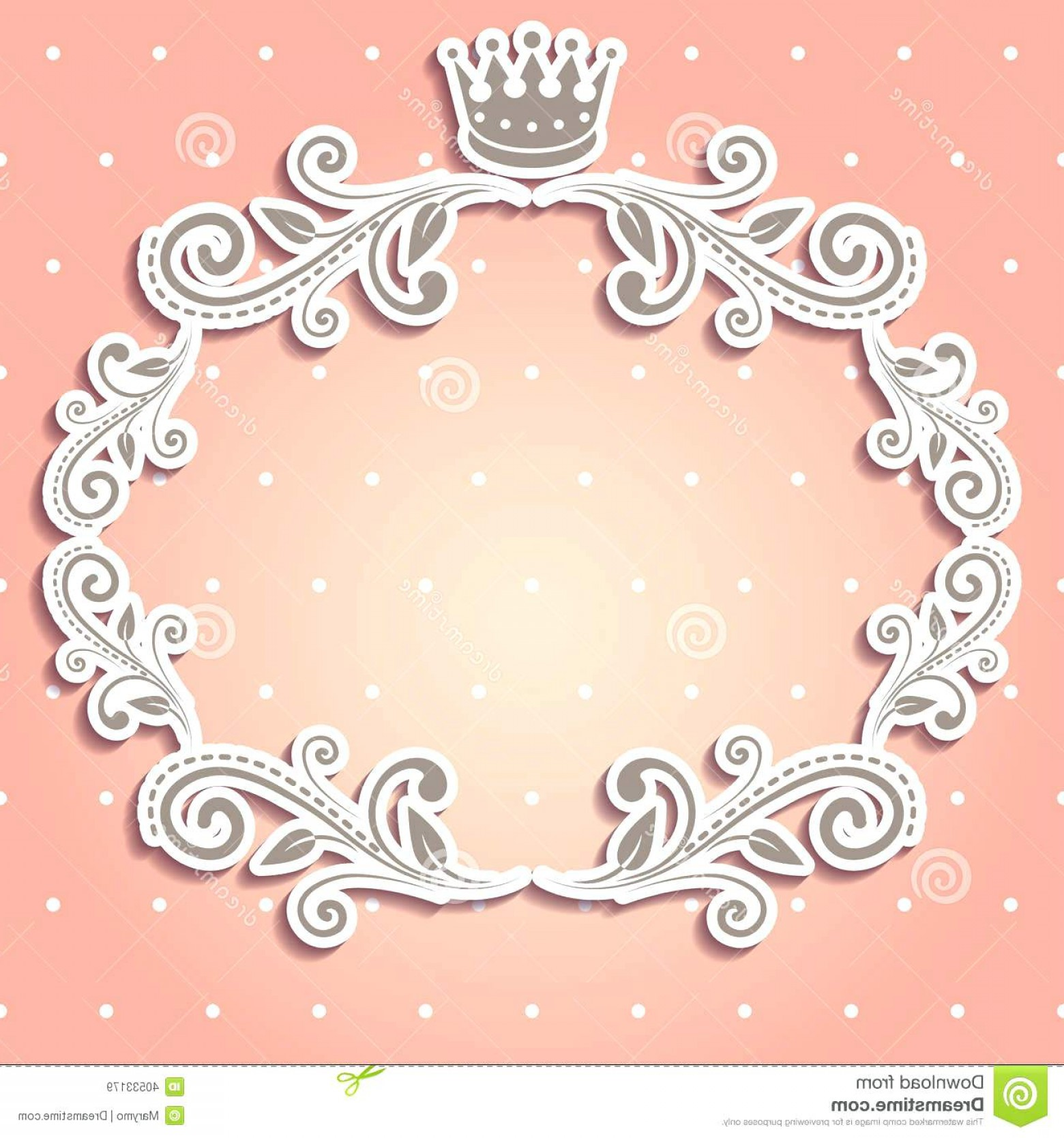 Princess Border Wallpaper Floral Frame With Crown Stock Vector Image ...