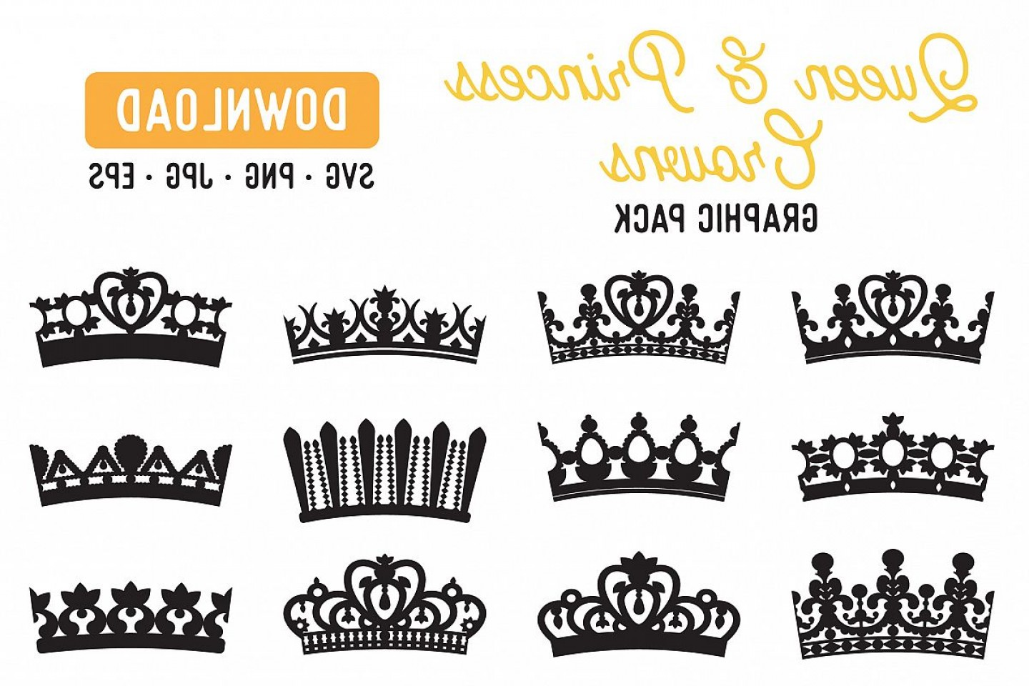 Princess Crown Vector Graphic: Princess Crown Queen Crown Vector Graphic Pack