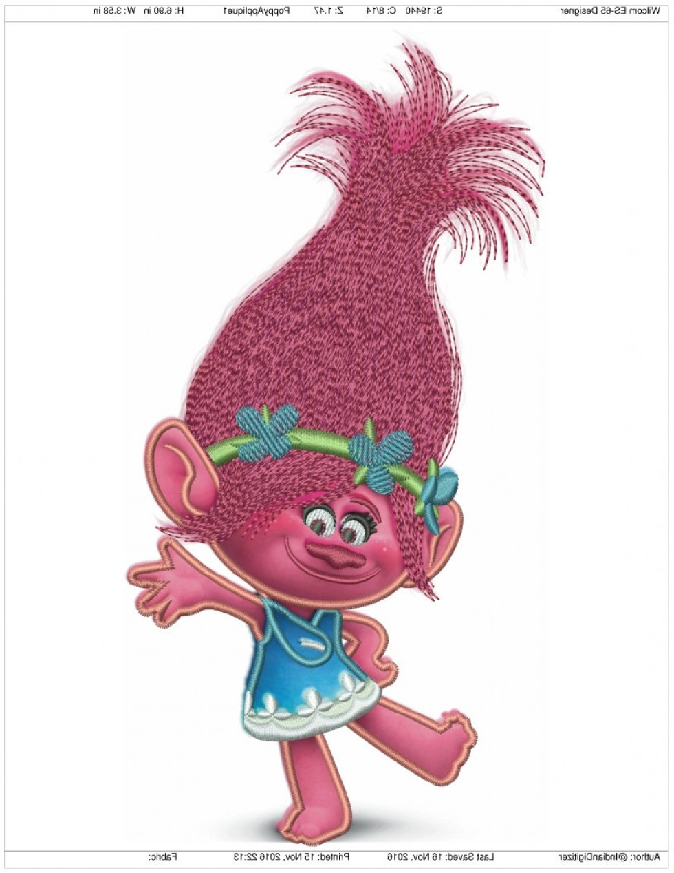 Trolls Poppy And Branch Vector Art: Princess Poppy Trolls Applique Inches Tall Machine Embroidery Design