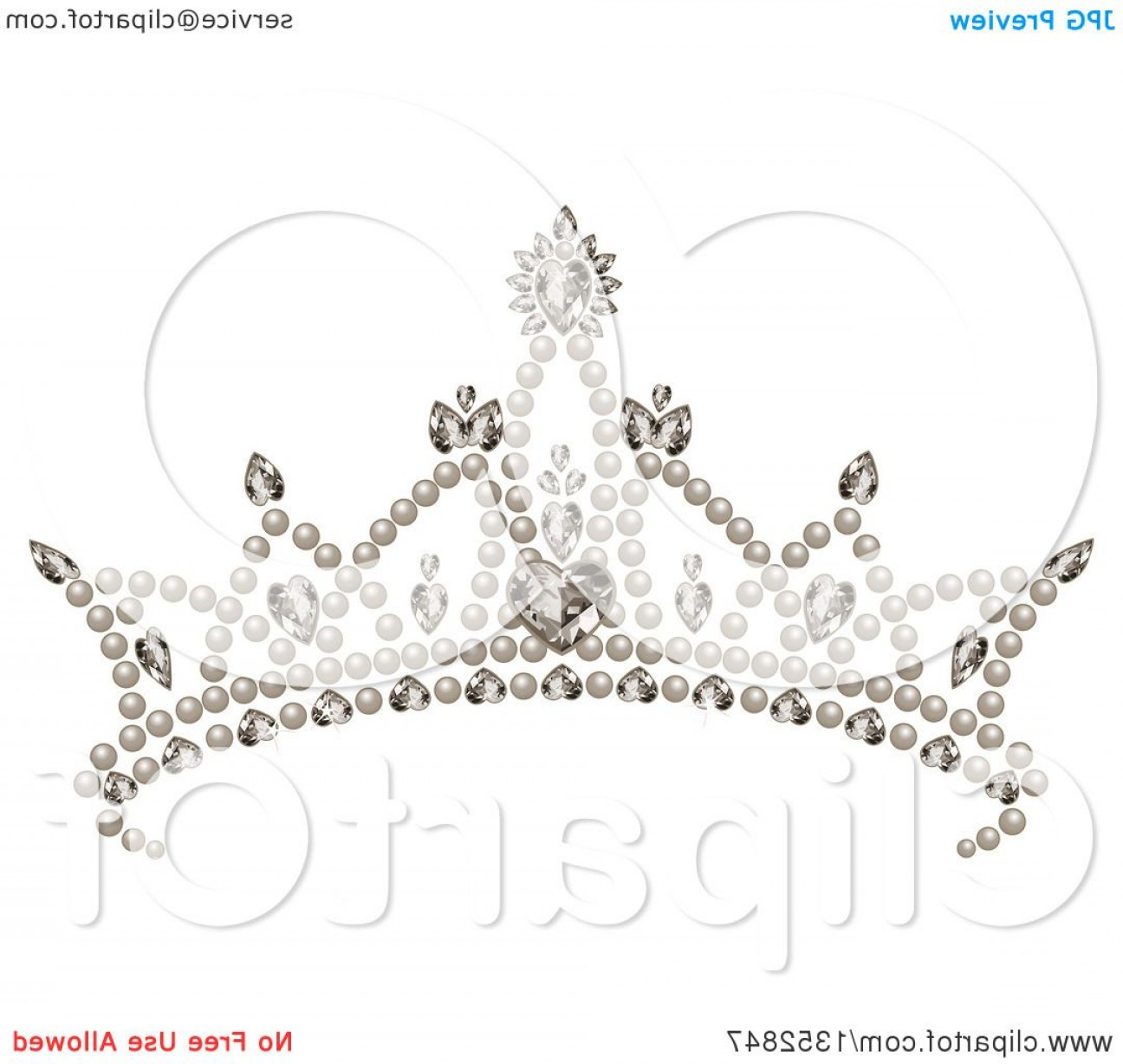 Pageant Tiaras Vector: Princess Tiara With Pearls Hearts And Diamonds