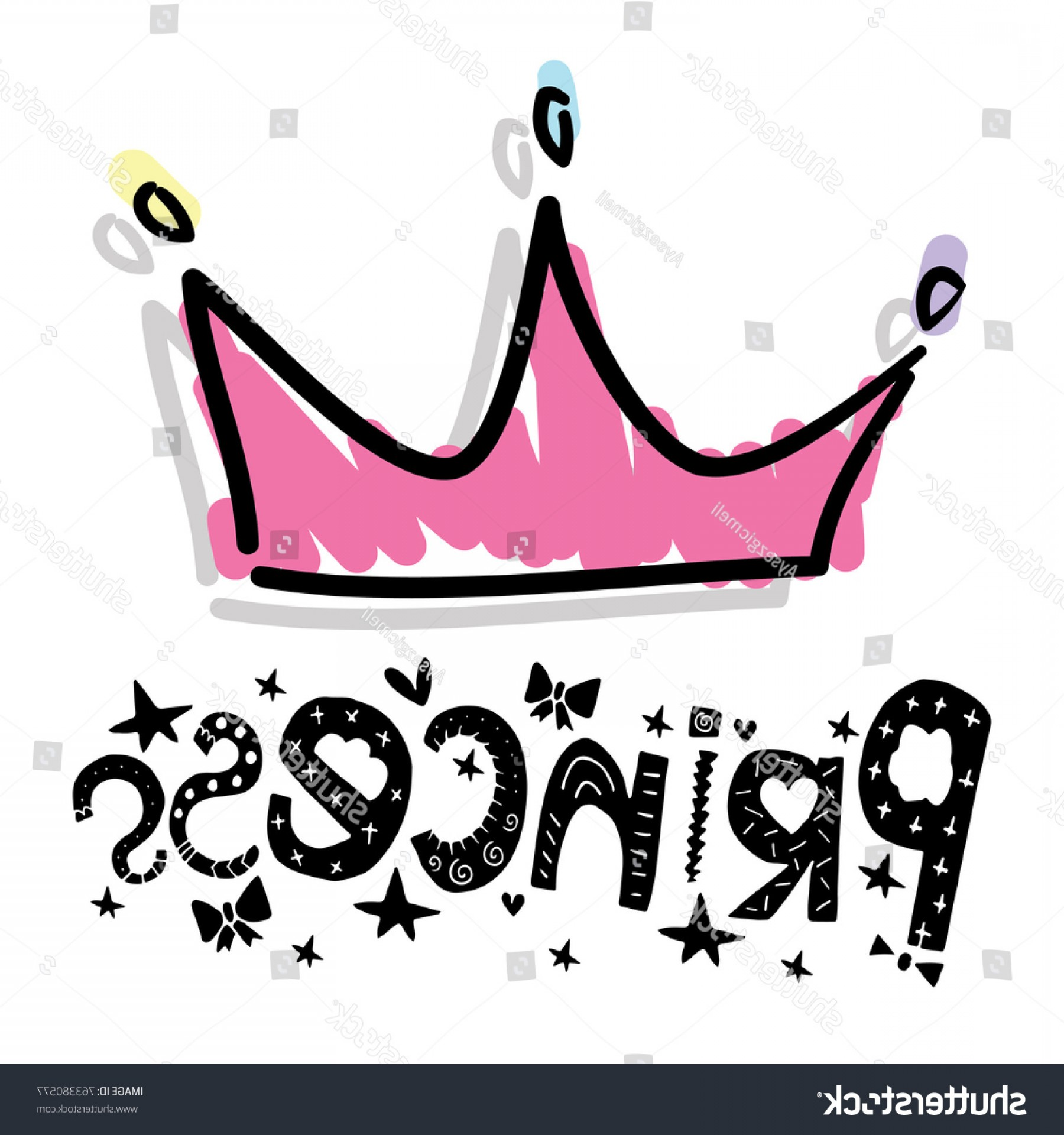Princess Crown Vector Graphic: Princess Typography Pink Crown Vector Illustration
