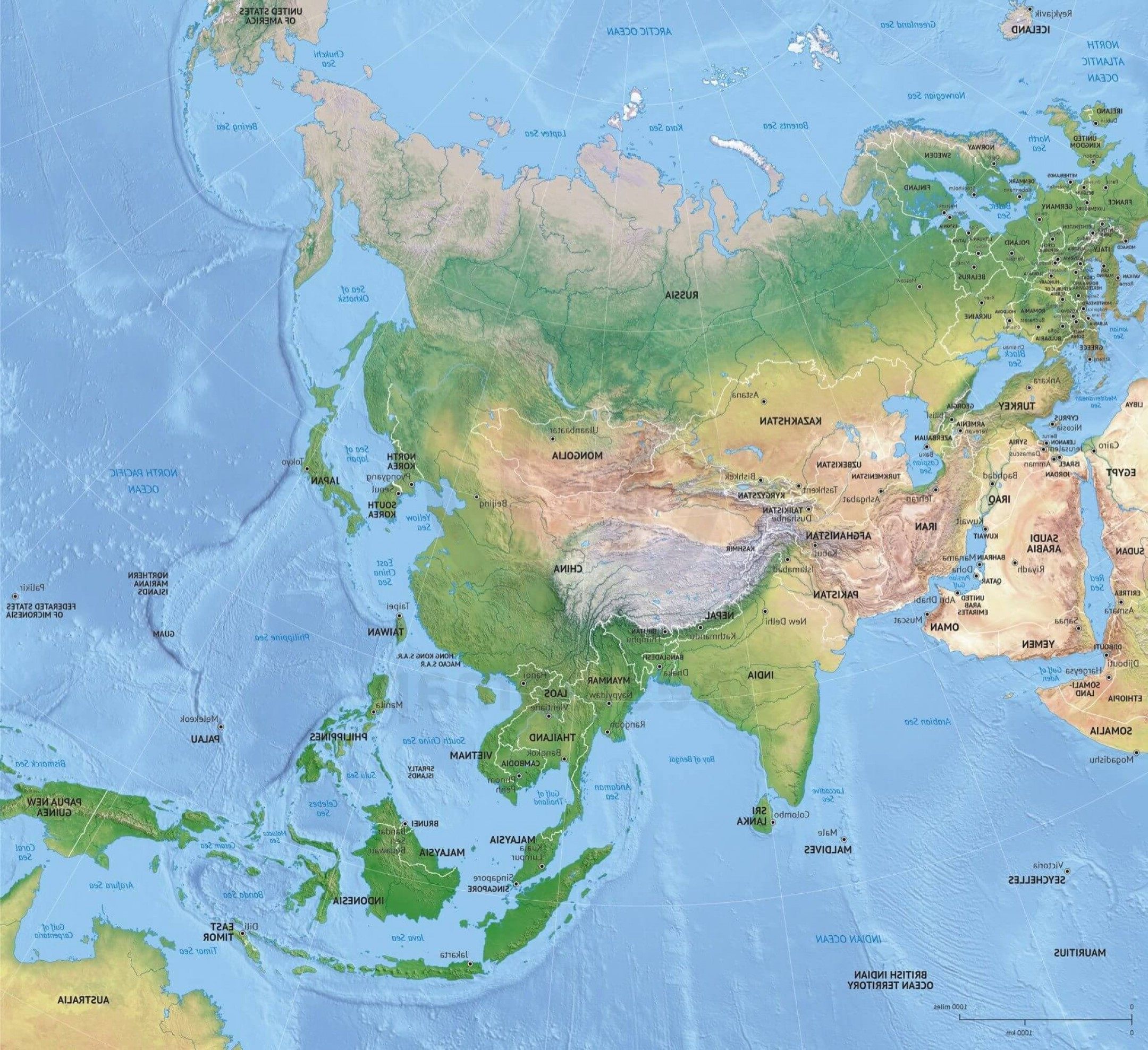 Asia Continent Map Vector: Printable Vector Map Asia Continent Political Shaded Relief