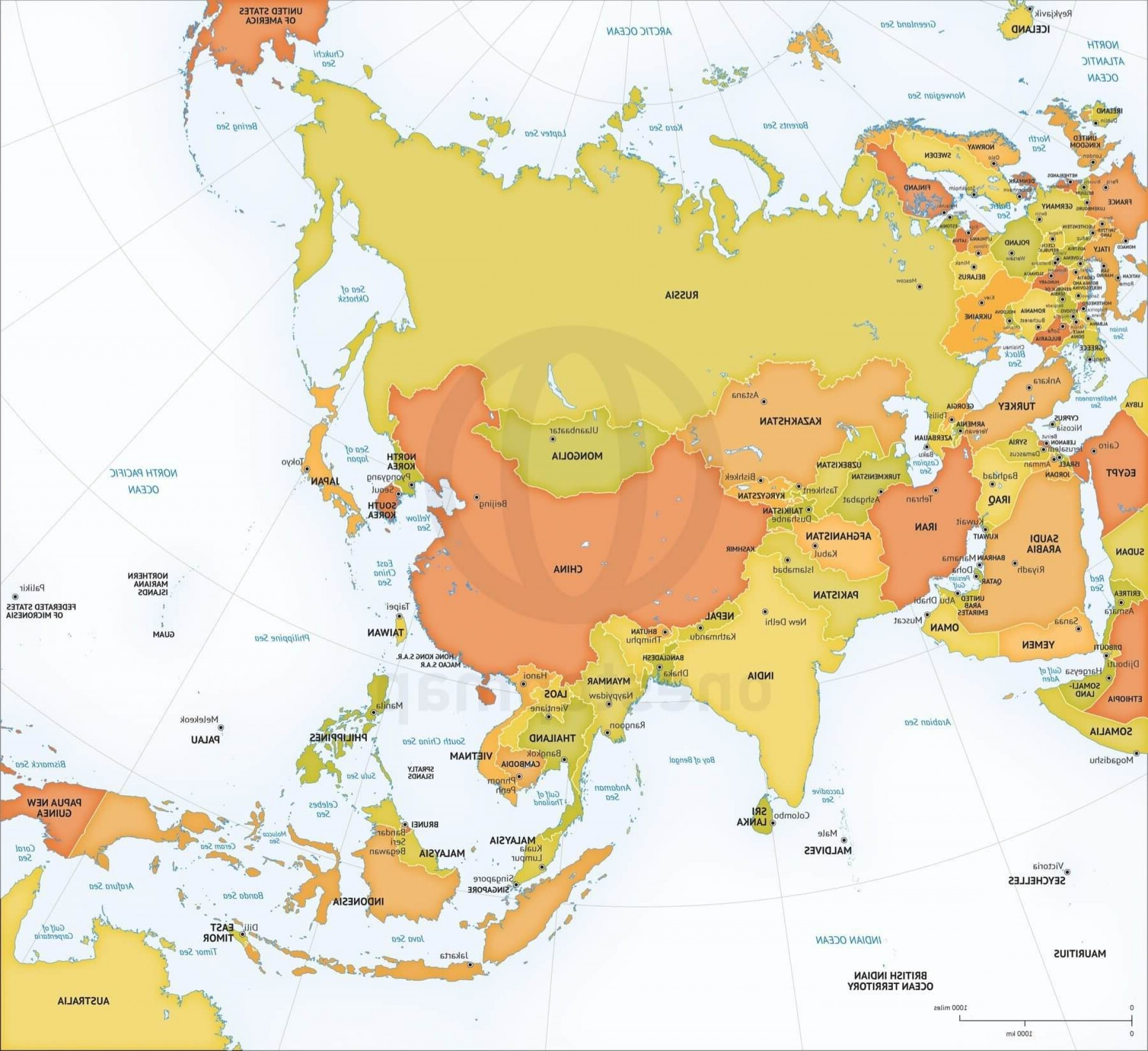 Asia Continent Map Vector: Printable Vector Map Asia Continent Political