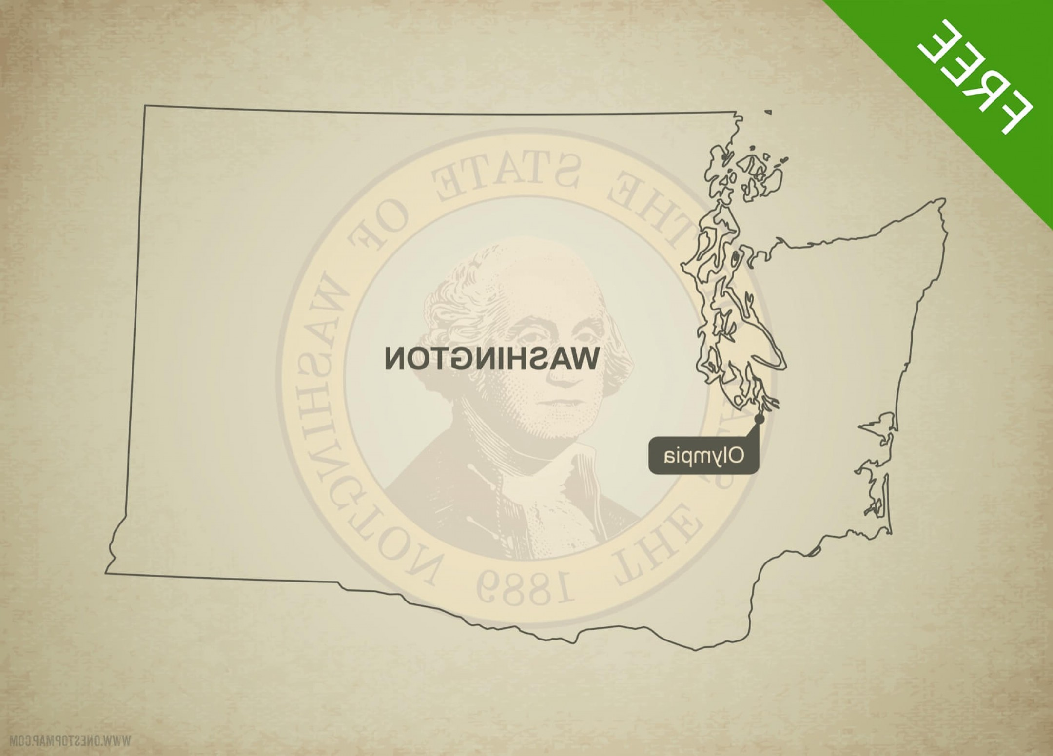 Washington State Map Vector: Printable Vector Map Washington Outline