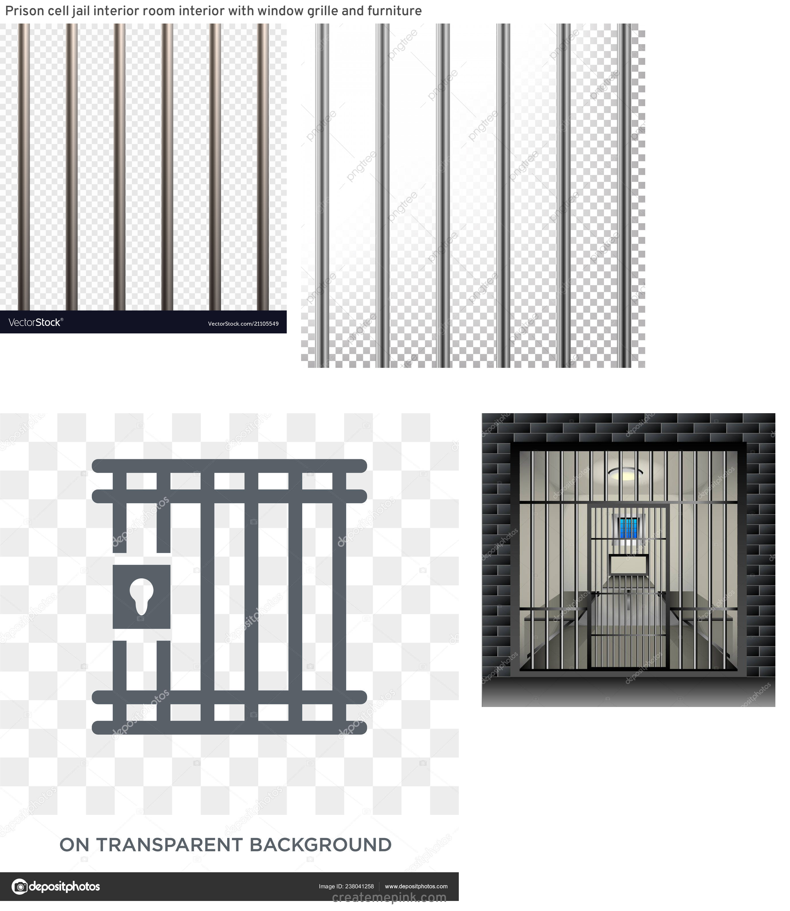 Jail Cell Vector: Prison Cell Jail Interior Room Interior With Window Grille And Furniture