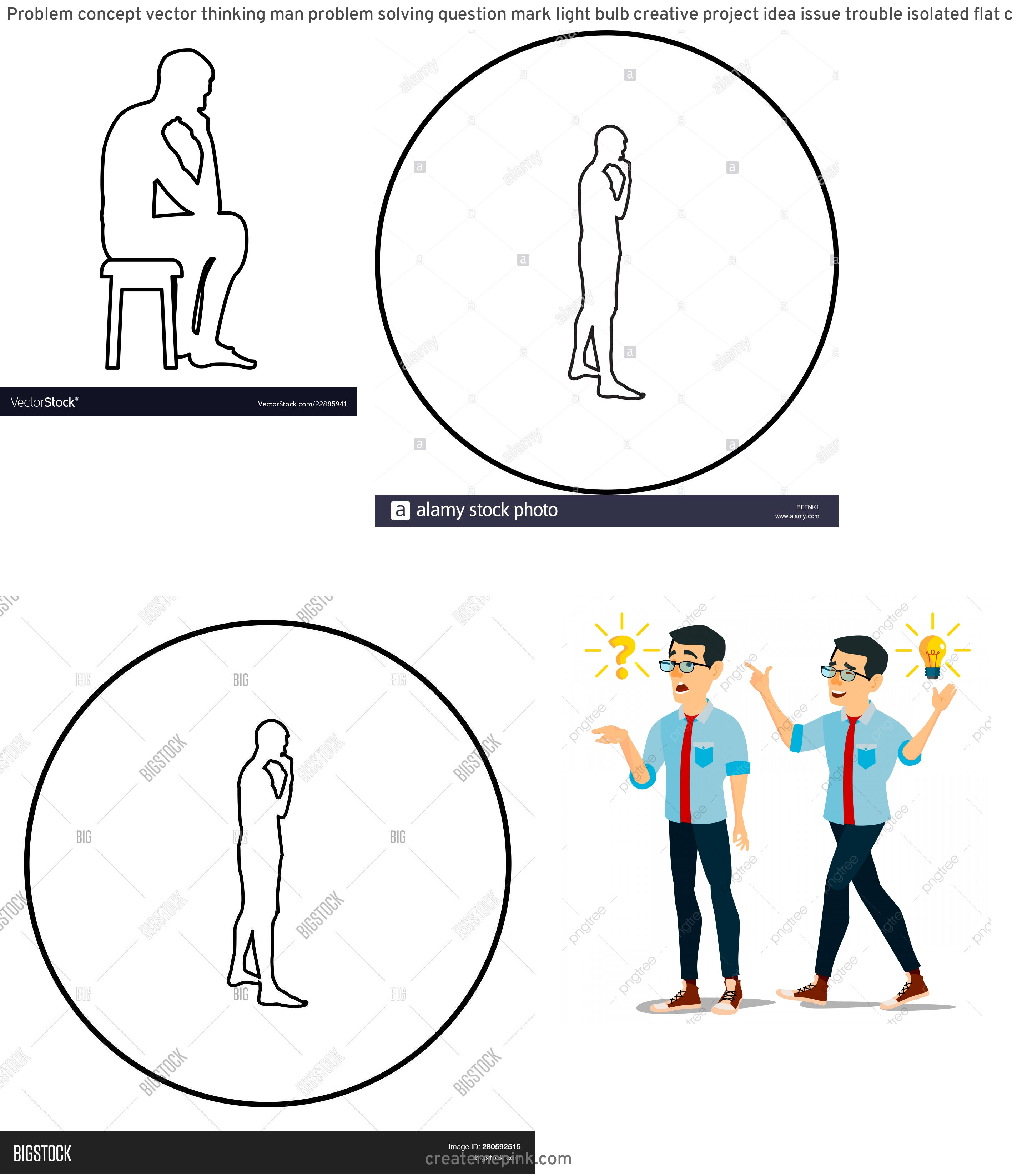 Person Thinking Outline Vector: Problem Concept Vector Thinking Man Problem Solving Question Mark Light Bulb Creative Project Idea Issue Trouble Isolated Flat Cartoon Illustration